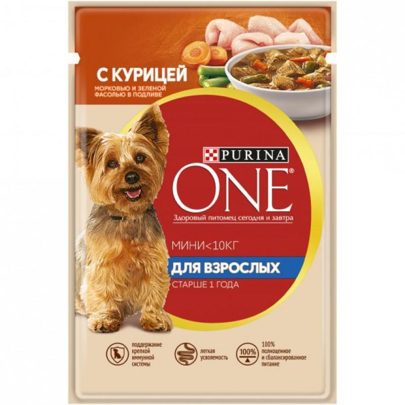 Влажный корм Purina ONE МИНИ для взрослых собак мелких пород с курицей, морковью и зеленой фасолью в подливе, 85 гр