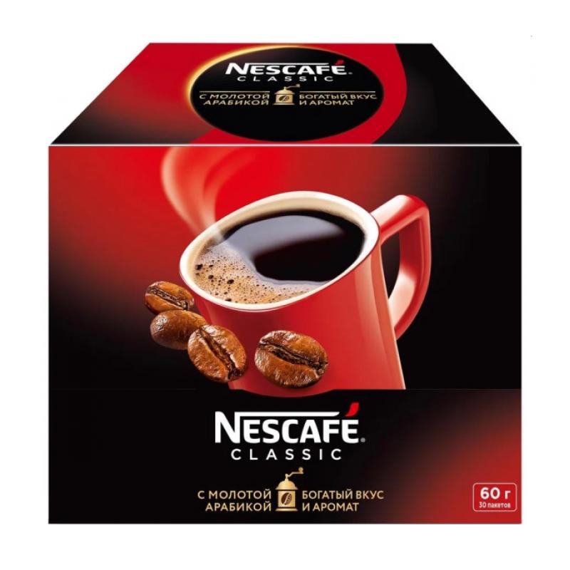 Кофе NESCAFE® CLASSIC растворимый кофе с добавлением натурального жареного молотого кофе, 30* 2 гр