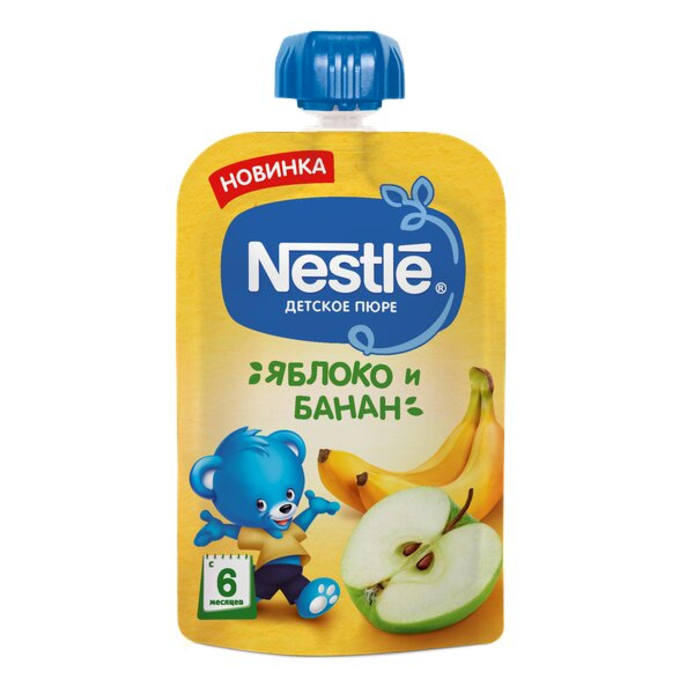 Пюре детское с яблоком и бананом Nestle, 90 гр