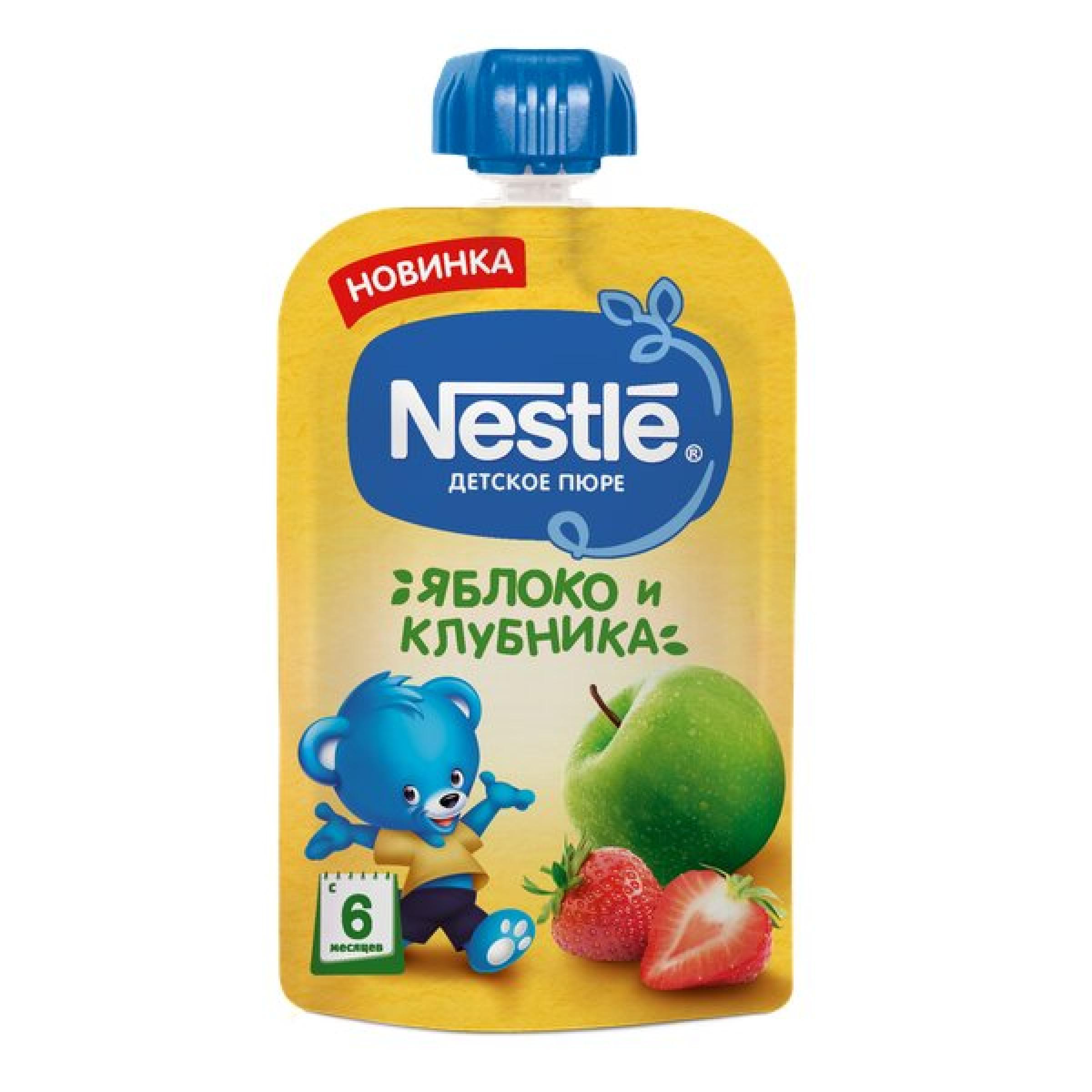 Пюре детское яблоко и клубника Nestle, 90 гр