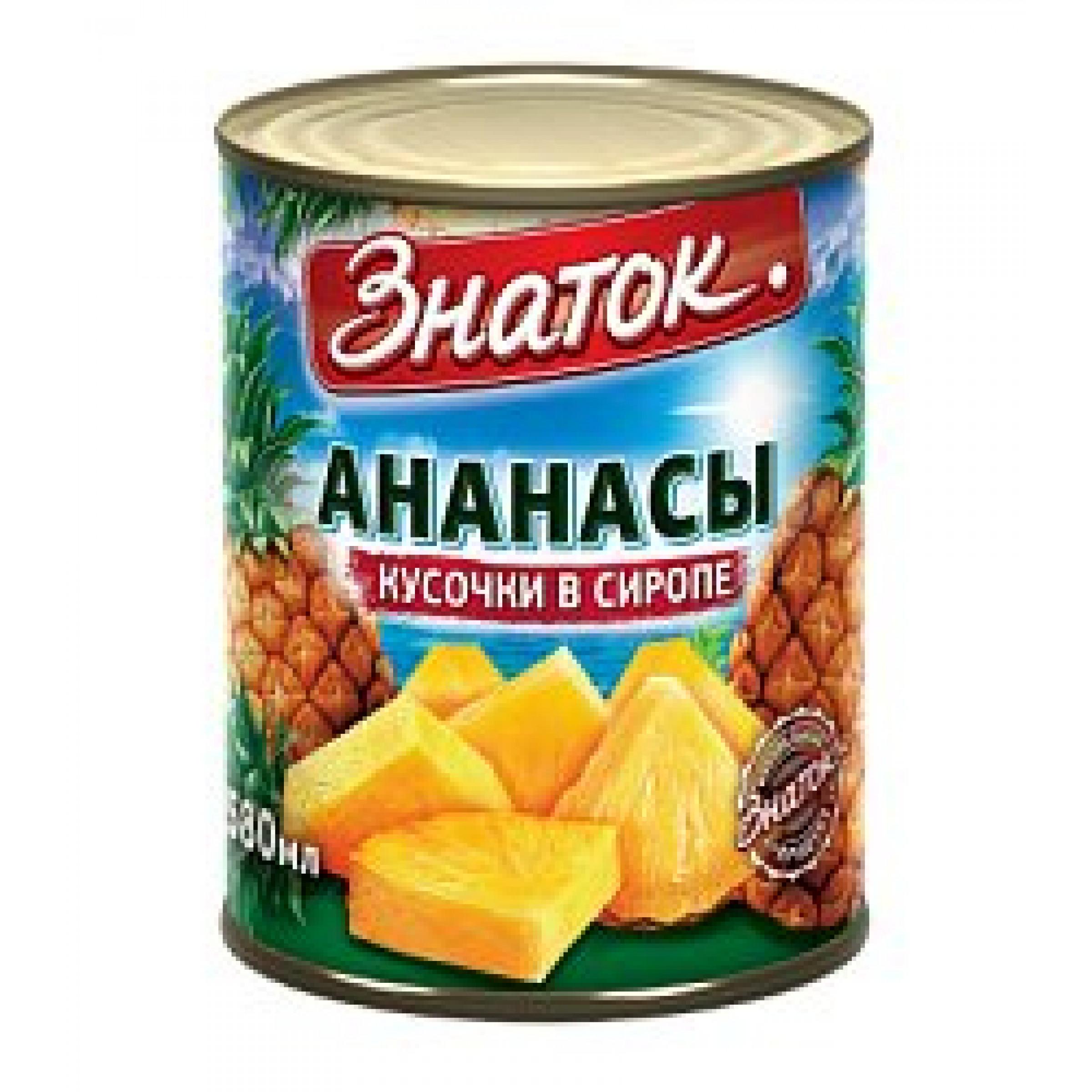 Ананасы в сиропе кусочки Знаток, 565 гр