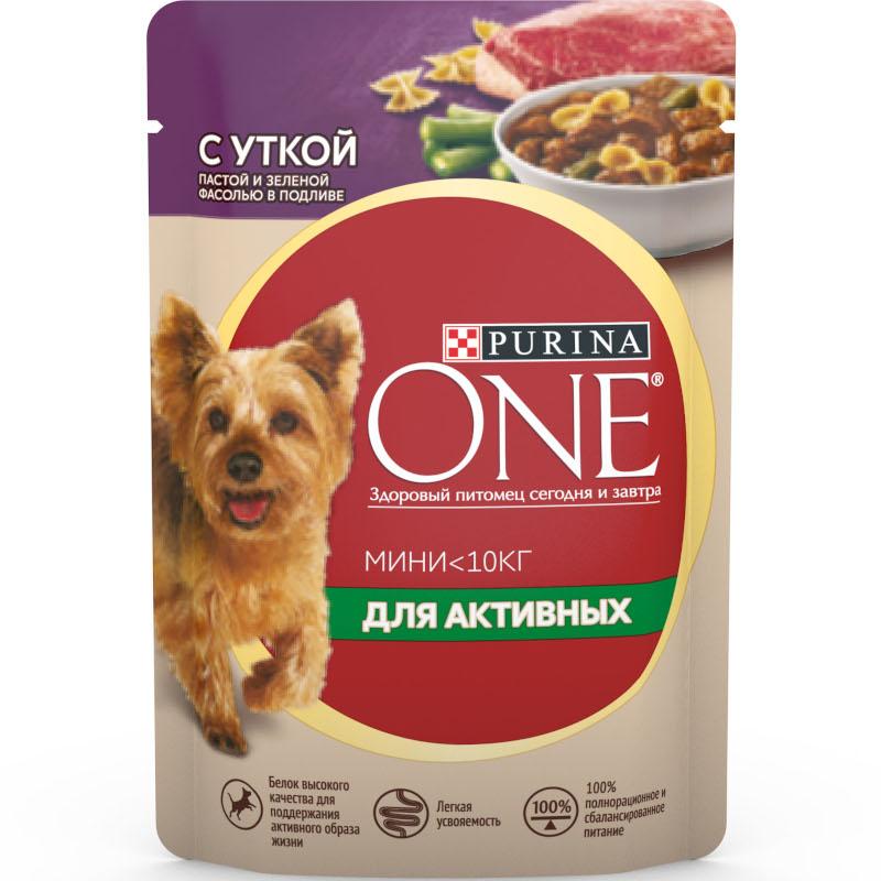 Корм влажный Purina One для активных собак Утка паста и зеленая фасоль в подливе, 85 гр