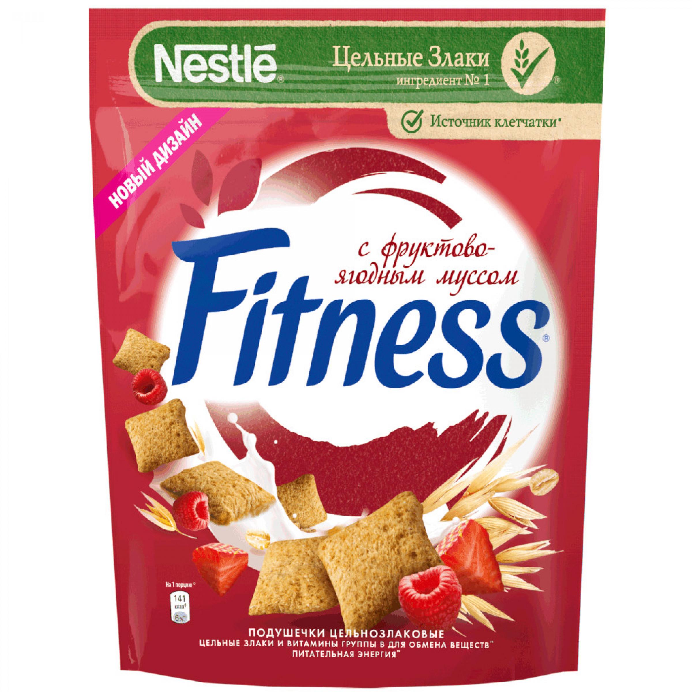 Готовый завтрак Fitness подушечки с фруктово-ягодным муссом, 180
