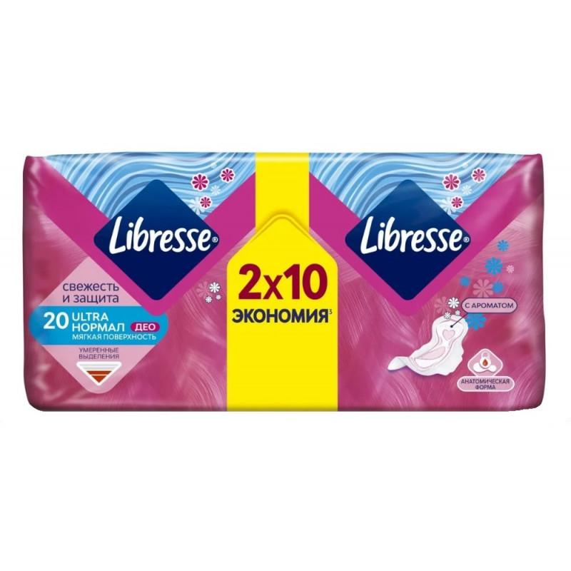 Прокладки женские гигиенические Libresse Ultra Normal с мягкой поверхностью, 20 шт