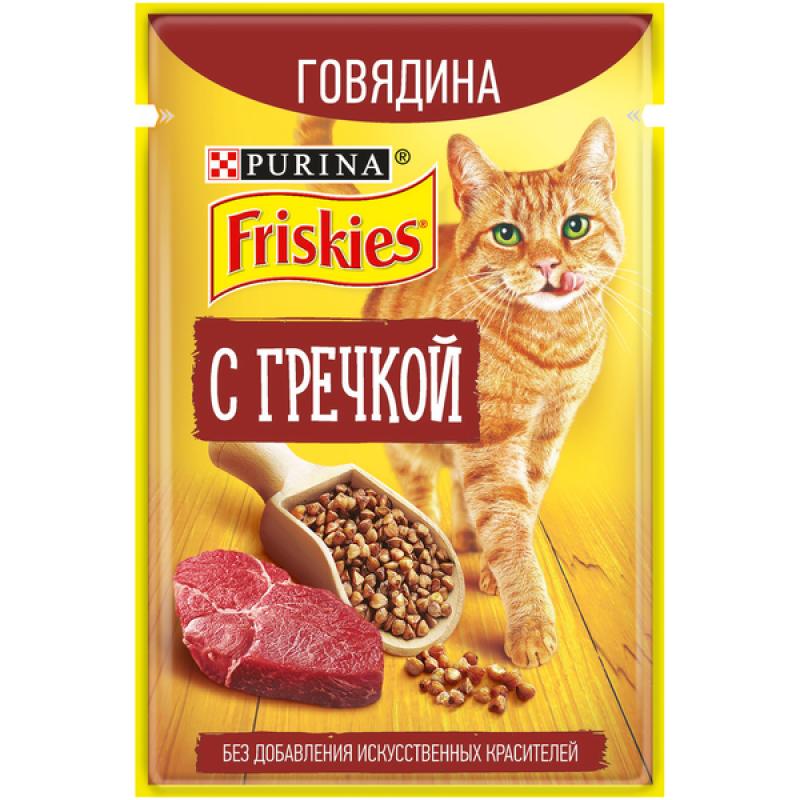 Влажный корм FRISKIES для кошек с Говядиной и Гречкой, 75 гр
