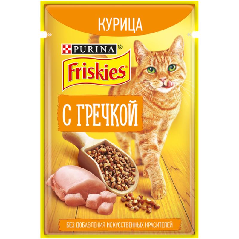Влажный корм FRISKIES для кошек с Курицей и Гречкой, 75 гр