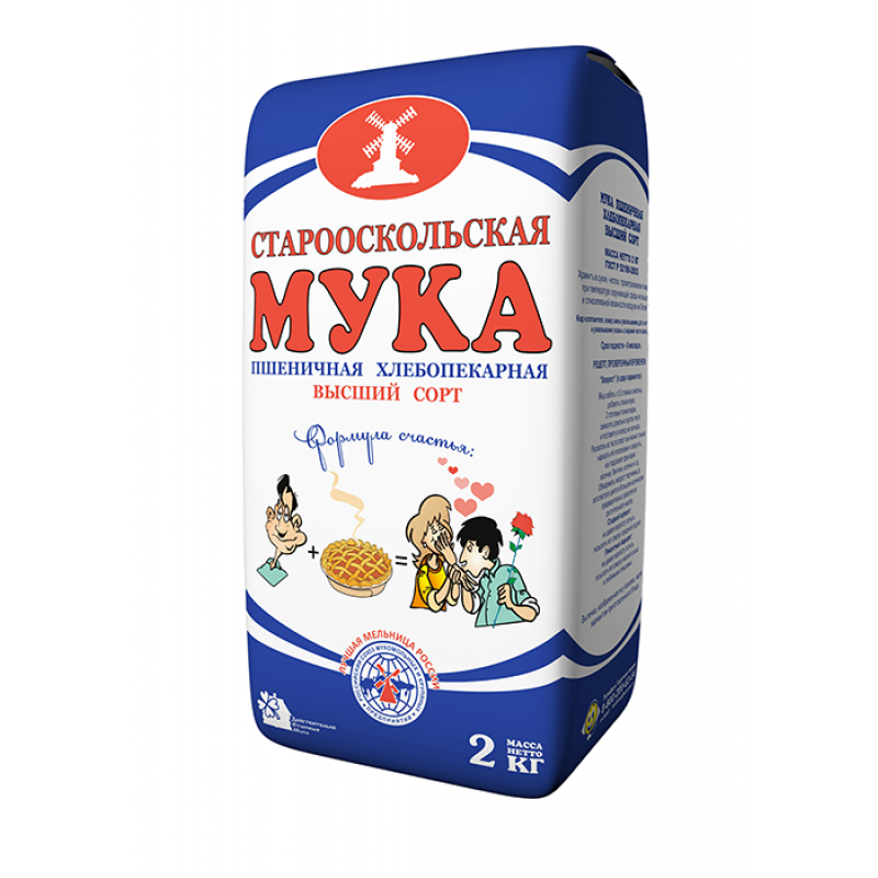 Мука Старооскольская Синий Мотив пшеничная хлебопекарная высший сорт, 2 кг