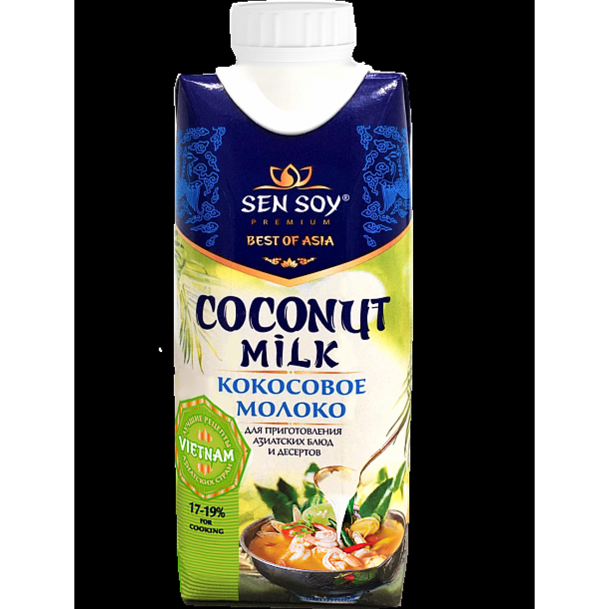 Кокосовое молоко Сэн Сой Премиум 17-19% Coconut Milk, 330 мл