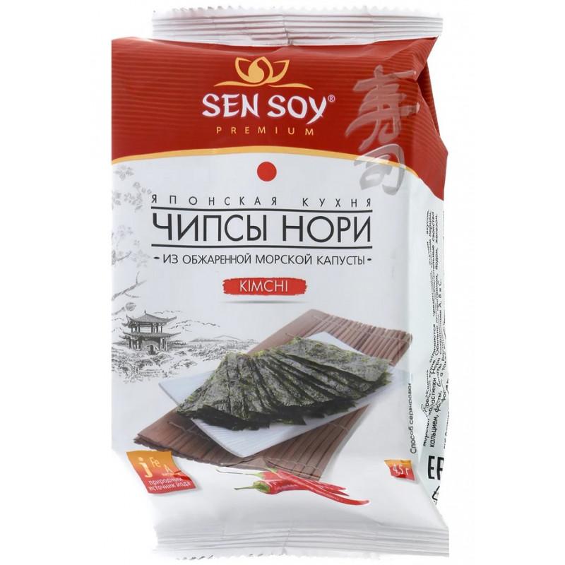 Чипсы Нори Kimchi из морской капусты Сэн Сой Премиум, 4, 5 гр