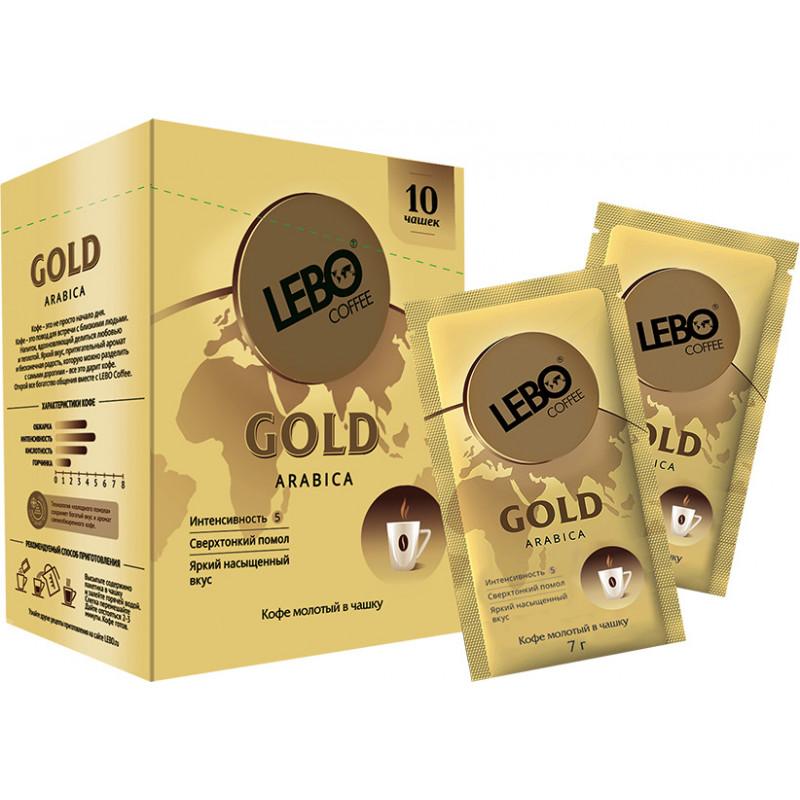 Кофе LEBO GOLD молотый для заваривания в чашке, 10 шт по 7 гр