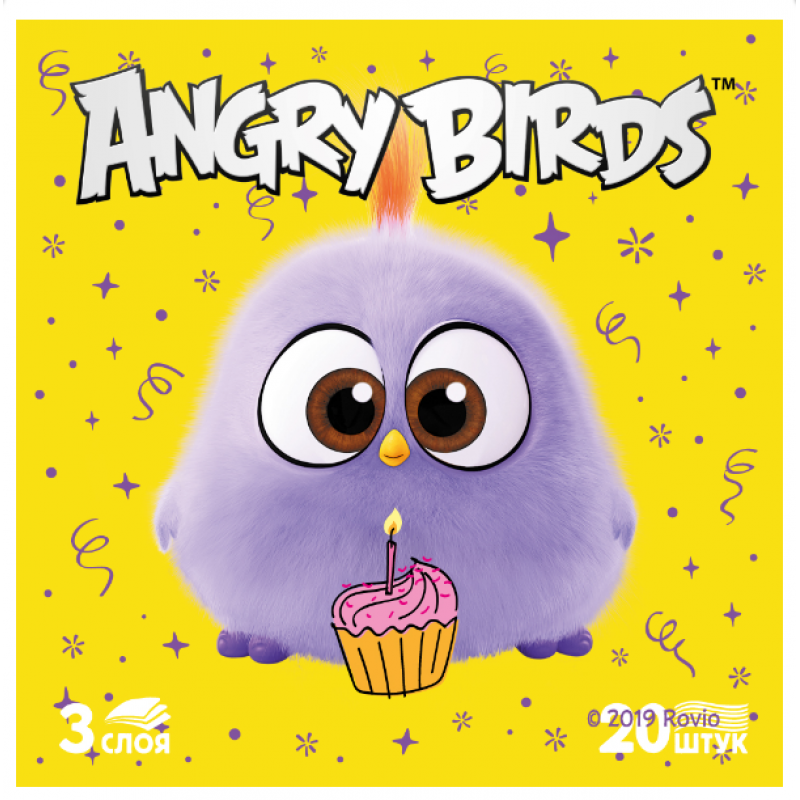 Салфетки бумажные Лилия Angry Birds 3-слойные 33*33 см, 20 листов
