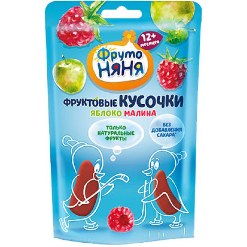 Фруктовые кусочки ФрутоНяня с яблоком и малиной без сахара с 12 месяцев, 15 гр