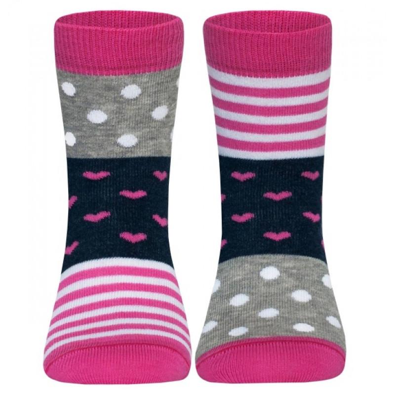 Носки детские CONTE Веселые ножки, цвет серый-розовый, размер 24-26
