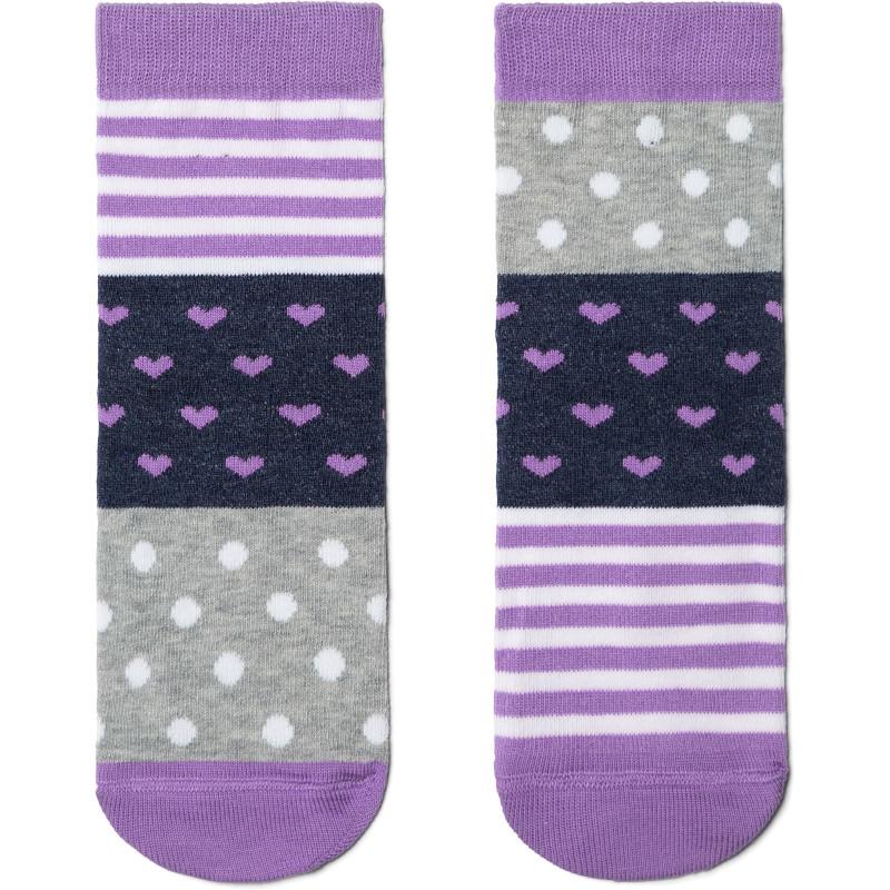 Носки детские CONTE Веселые ножки, цвет серый-сиреневый, размер 24-26