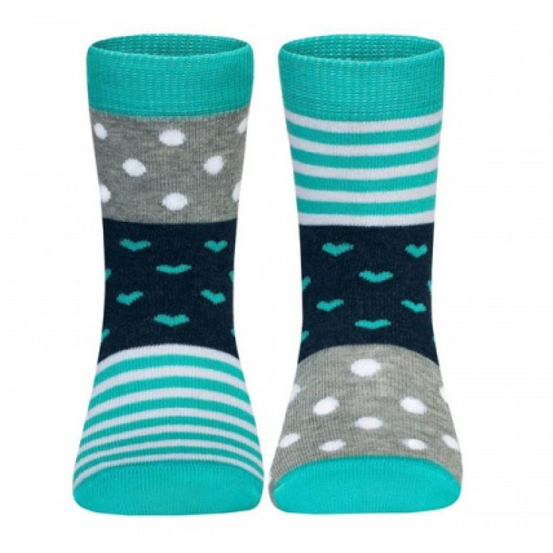 Носки детские CONTE Веселые ножки, цвет серый-бирюза, размер 24-26