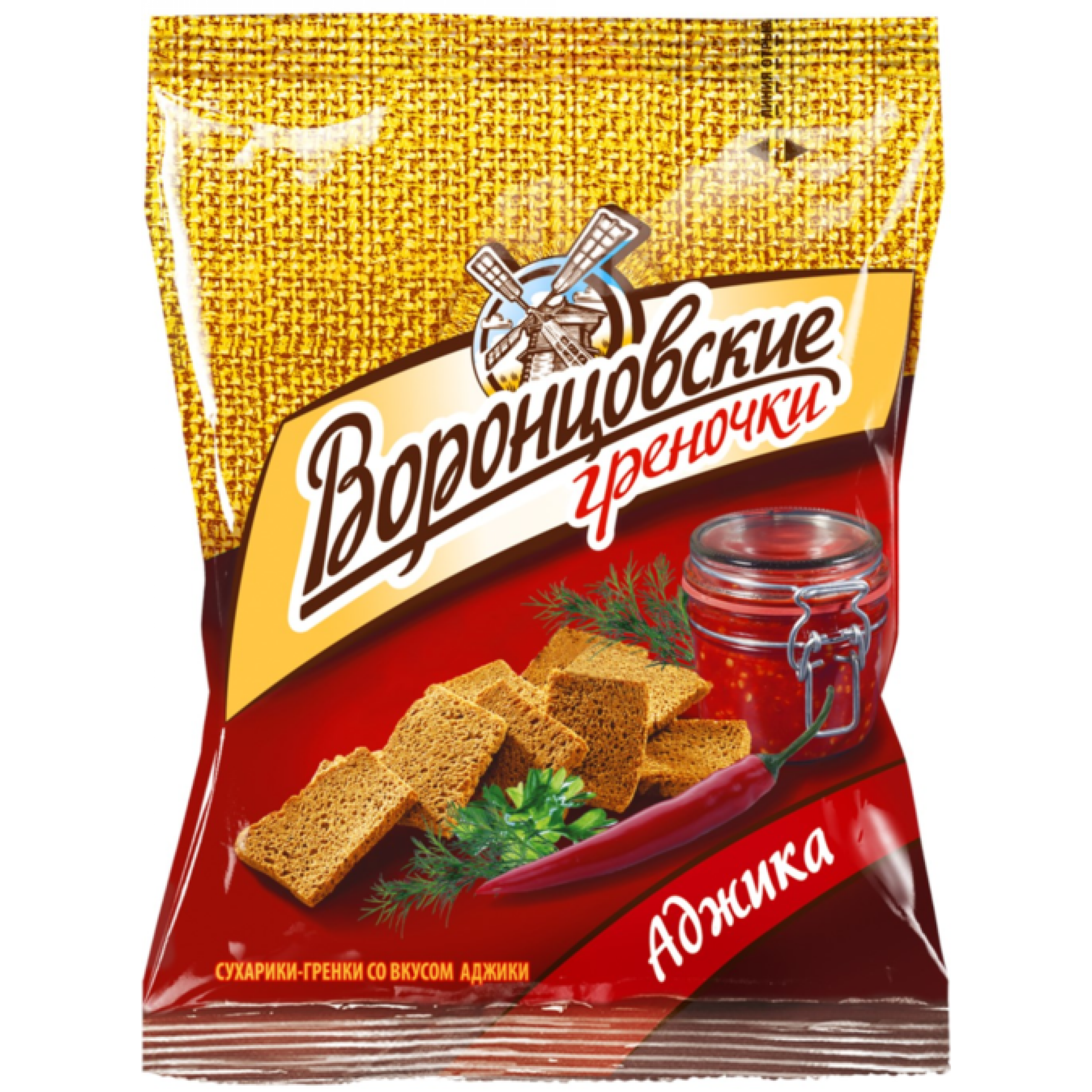 Сухарики-гренки Воронцовские ржано-пшеничные Аджика, 60 гр