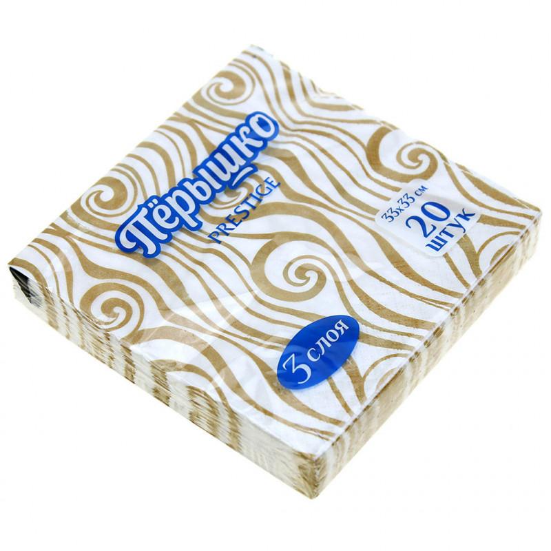 Салфетки бумажные Перышко Prestige Золотые нити 3-слойные 33*33 см, 20 листов