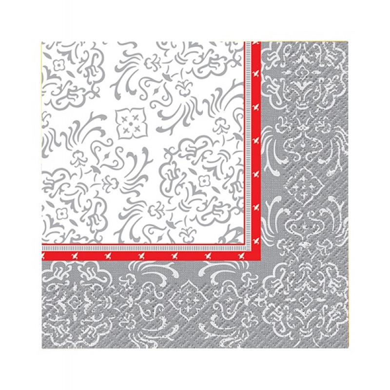 Салфетки бумажные Перышко Prestige Барокко 3-слойные 33*33 см, 20 листов