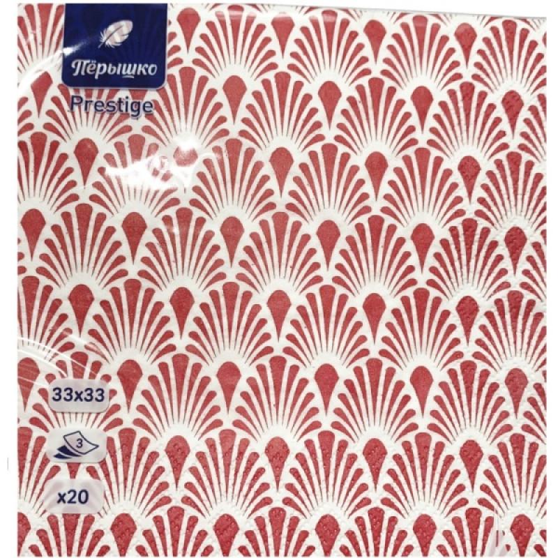 Салфетки бумажные Перышко Prestige Волшебные перья красный 3-слойные 33*33 см, 20 листов