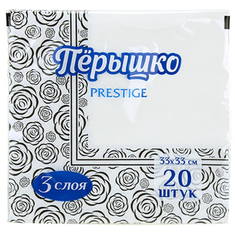 Салфетки бумажные Перышко Prestige Черная роза 3-слойные 33*33 см, 20 листов