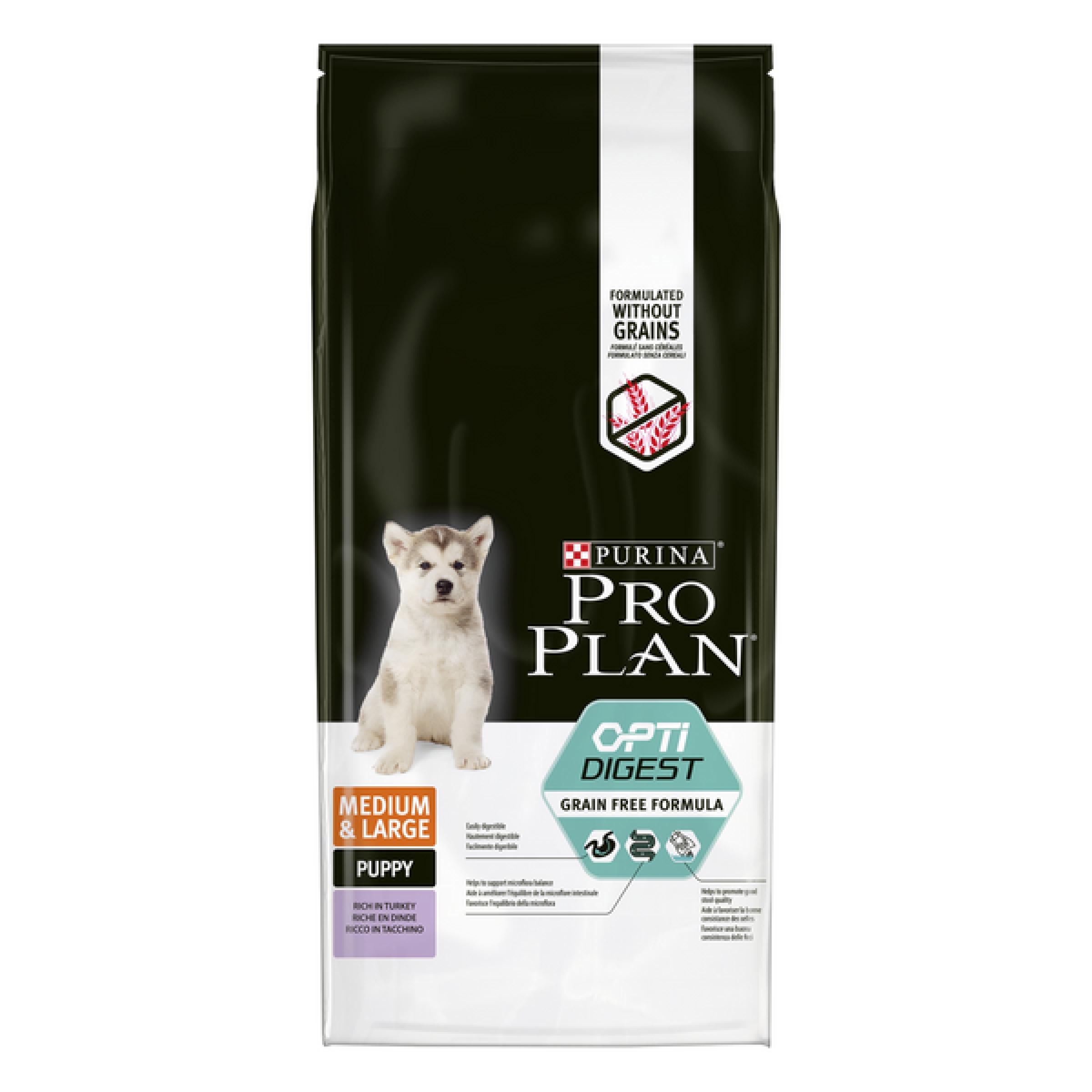 Pro Plan® Grain Free Formula для щенков средних и крупных пород с чувствительным пищеварением, с высоким содержанием индейки, Пакет, 12 кг