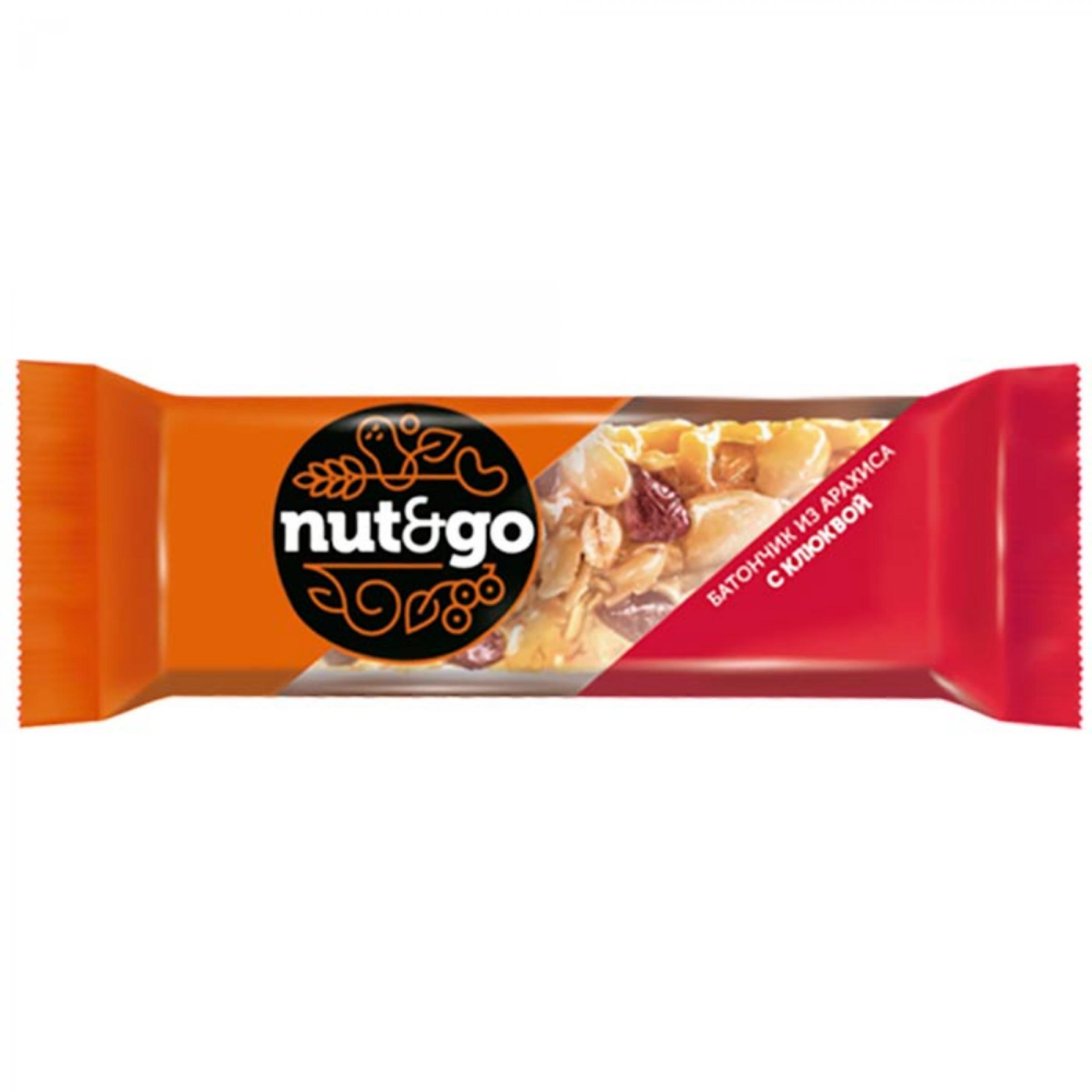 Батончик Nut&Go из арахиса и клюквы, 42 гр