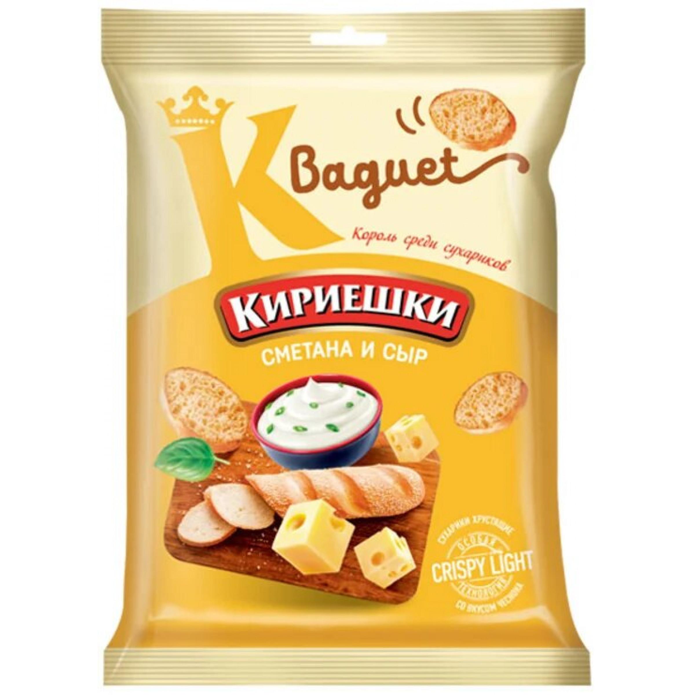 Сухарики Кириешки Baguet сметана и сыр, 50 гр