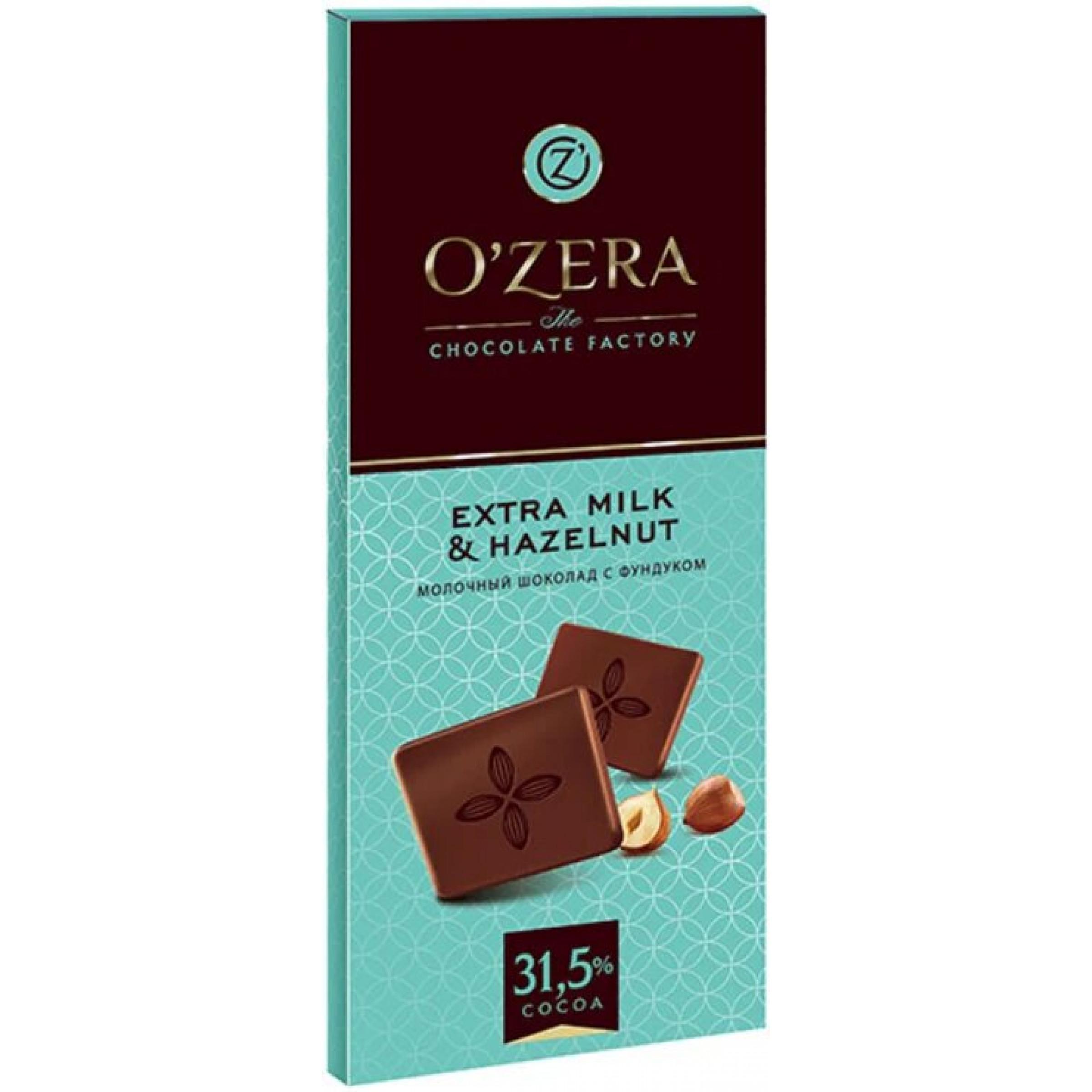 """Шоколад O""""Zera Extra milk & Hazelnut молочный с фундуком, 90 гр"""