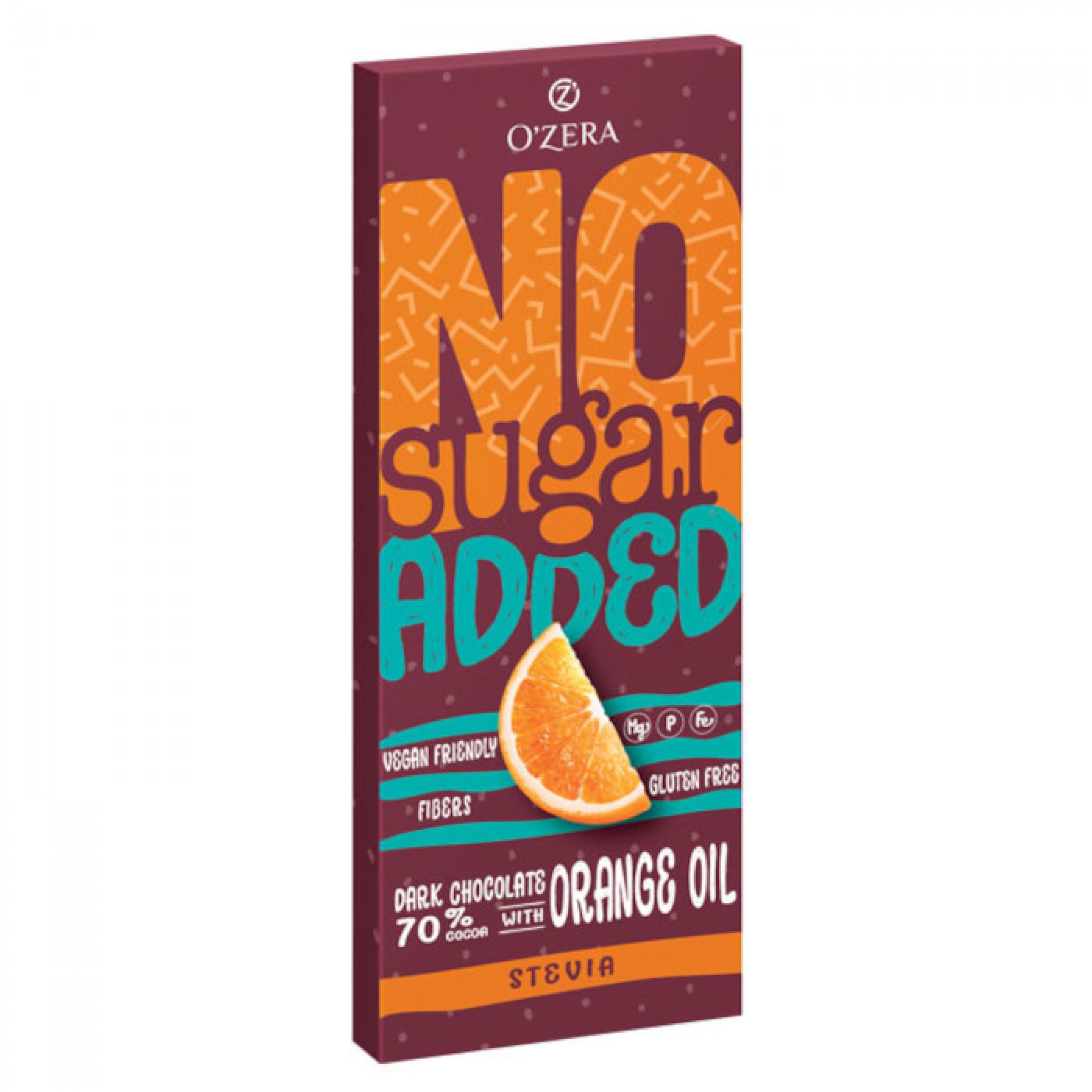 O'Zera, горький шоколад No sugar added Dark&Orange, 90 гр