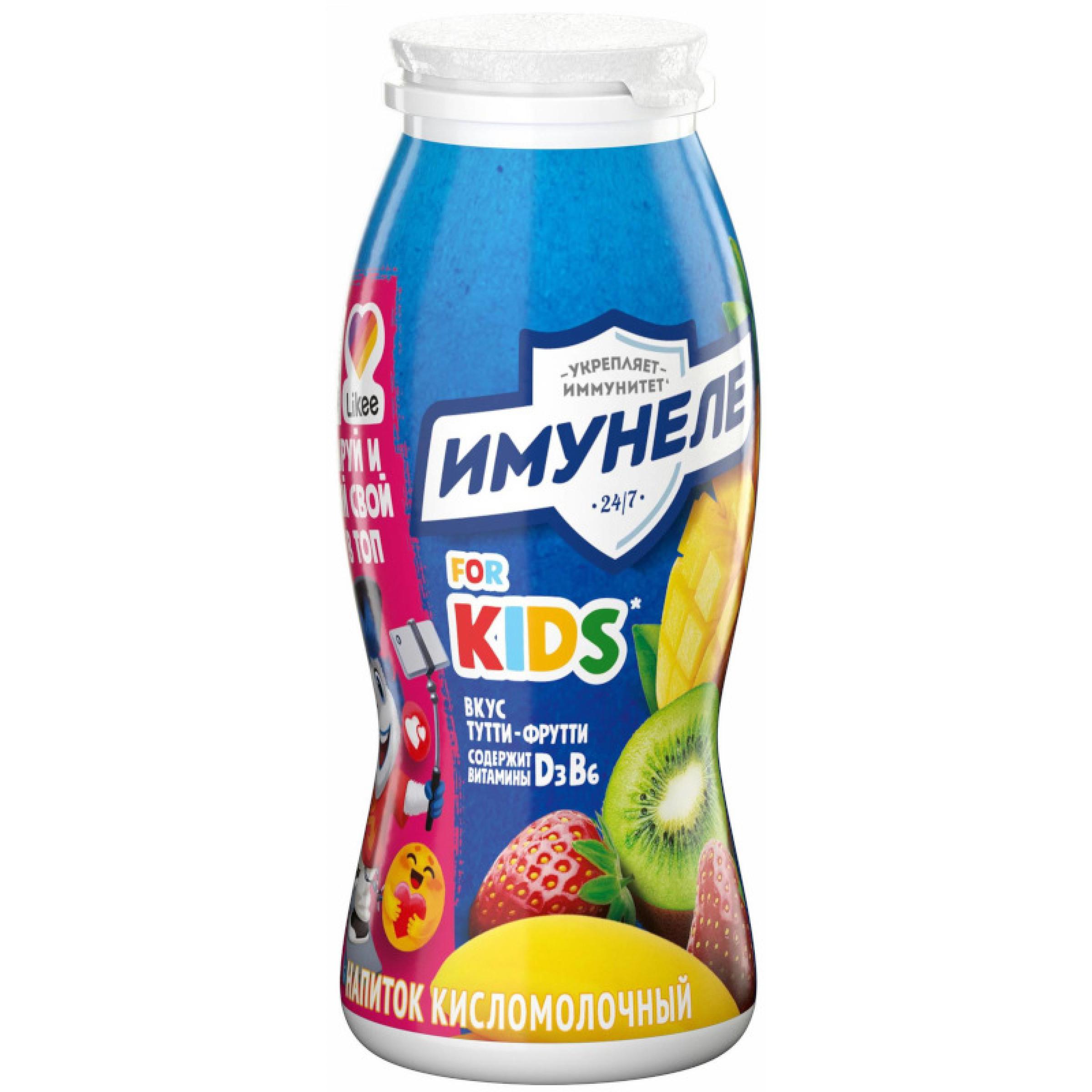 """Напиток детский """"Имунеле"""" 1,5% Тутти-Фрутти, 100 г"""