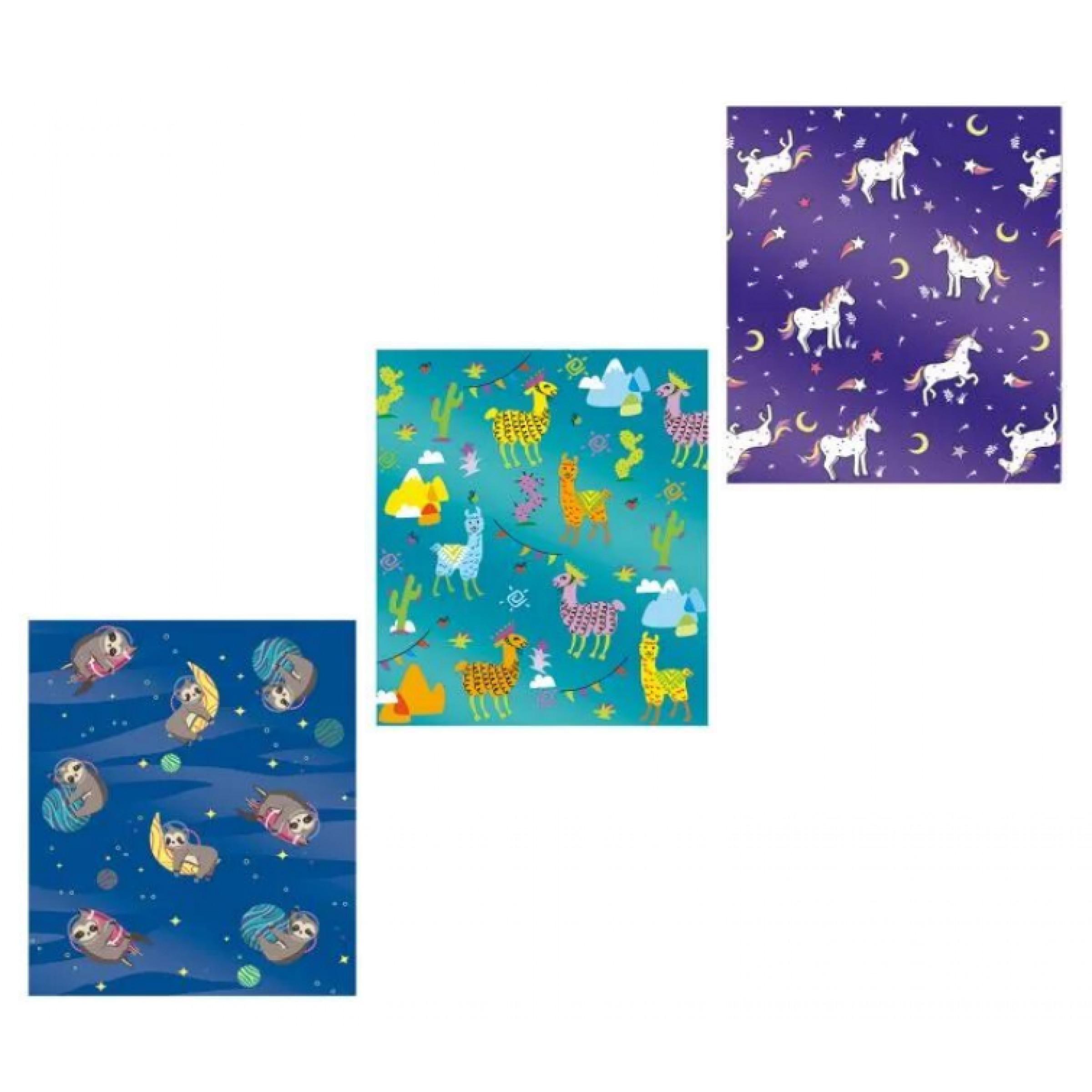 """Обложки для тетрадей с голографическим рисунком """"Зверята"""", 3шт."""