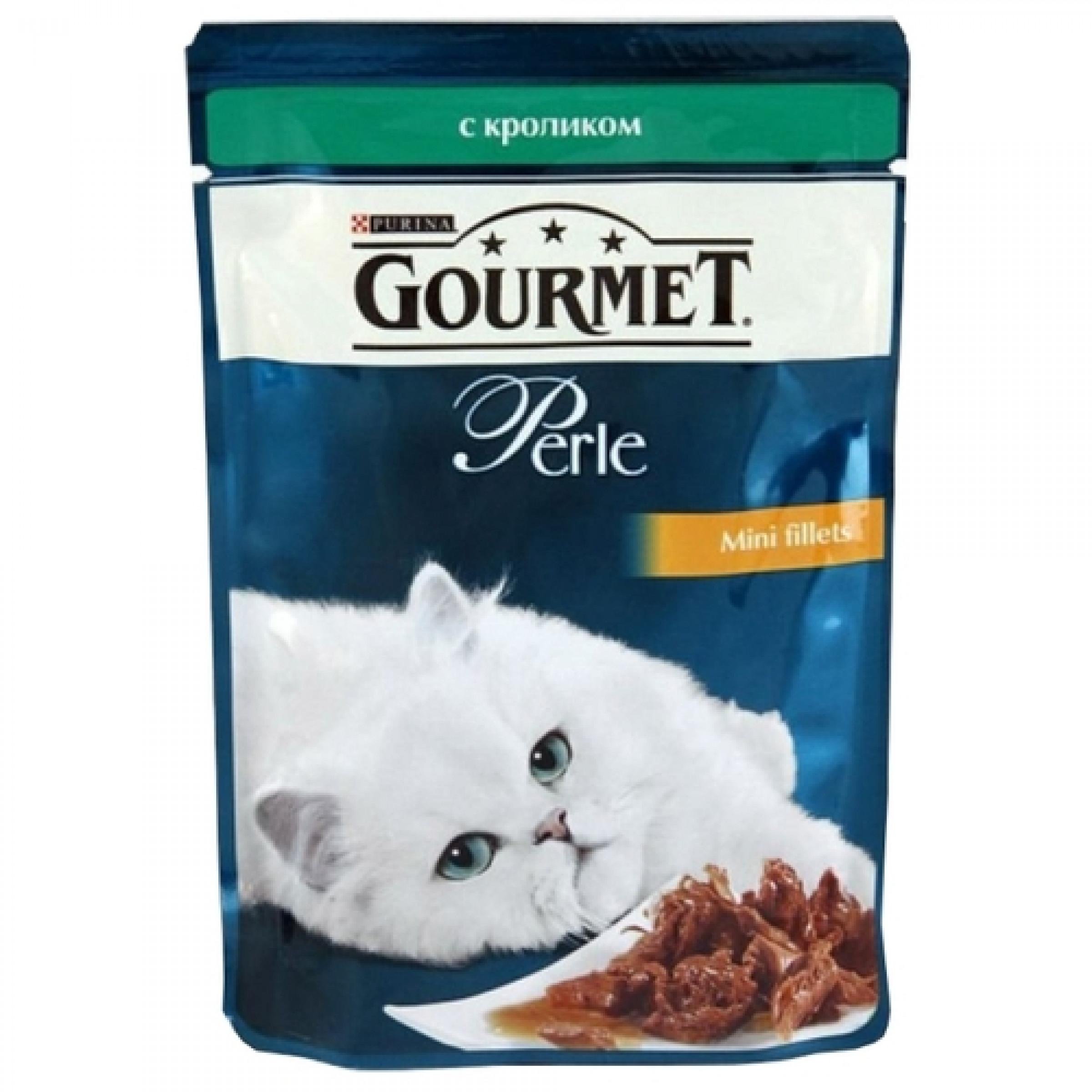 """Корм """"Gourmet"""" Perle для кошек в подливе с кроликом, 85г."""