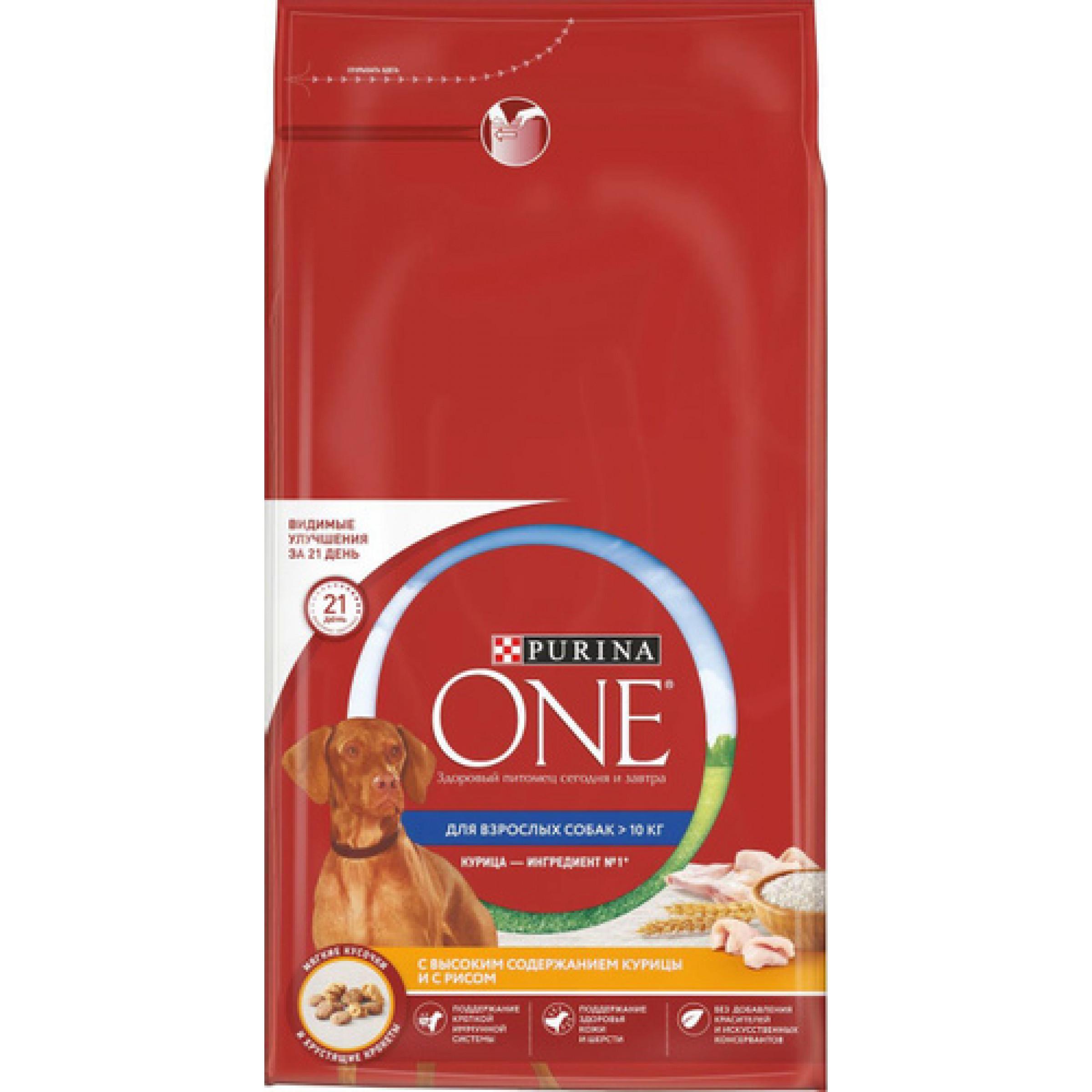 """Сухой корм """"Purina ONE"""" для взрослых собак средних и крупных пород, с высоким содержанием курицы и с рисом, 10кг."""