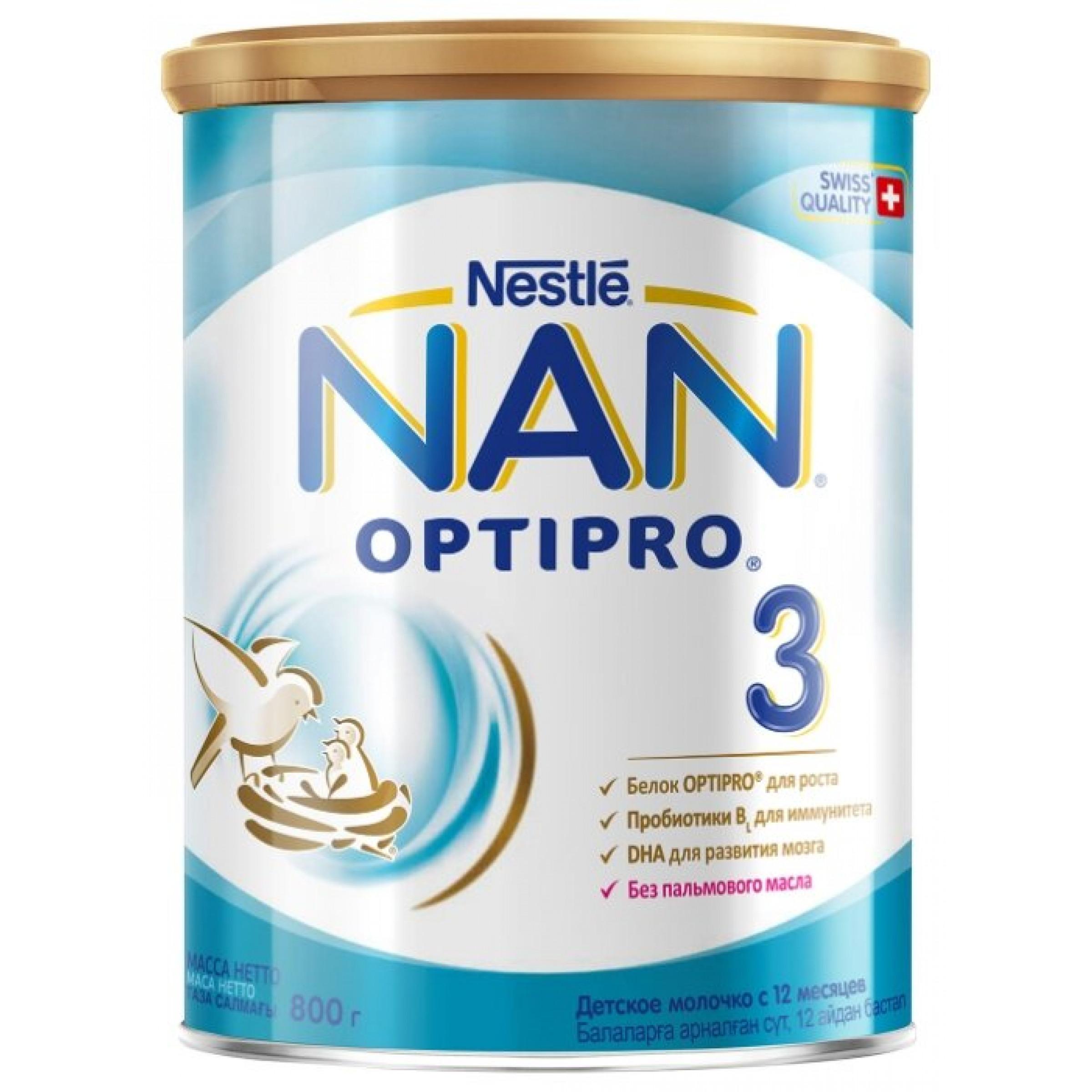"""Смесь """"NAN"""" 3 Optipro молочная с 12 месяцев, 800гр."""