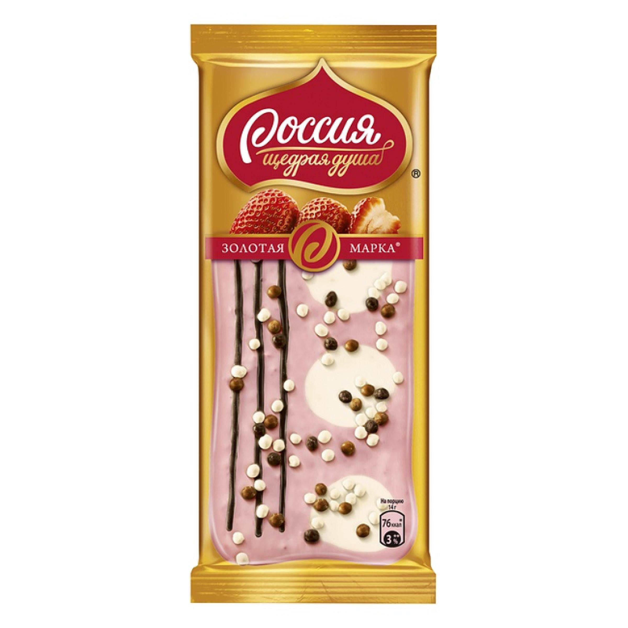 """Шоколад """"Россия Золотая марка"""" Дуэт в клубничном, 85 г"""