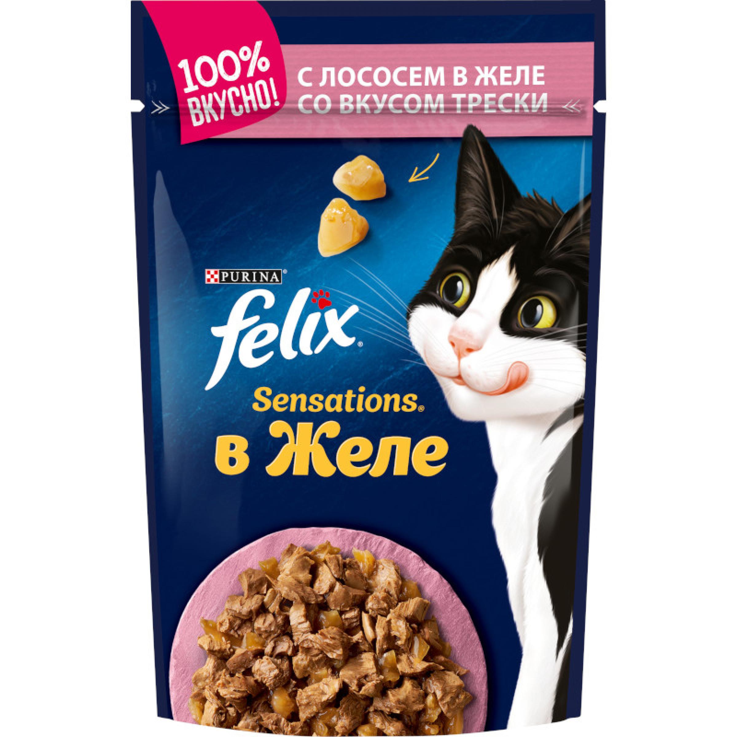 Влажный корм Felix® Sensations® для взрослых кошек, с лососем в