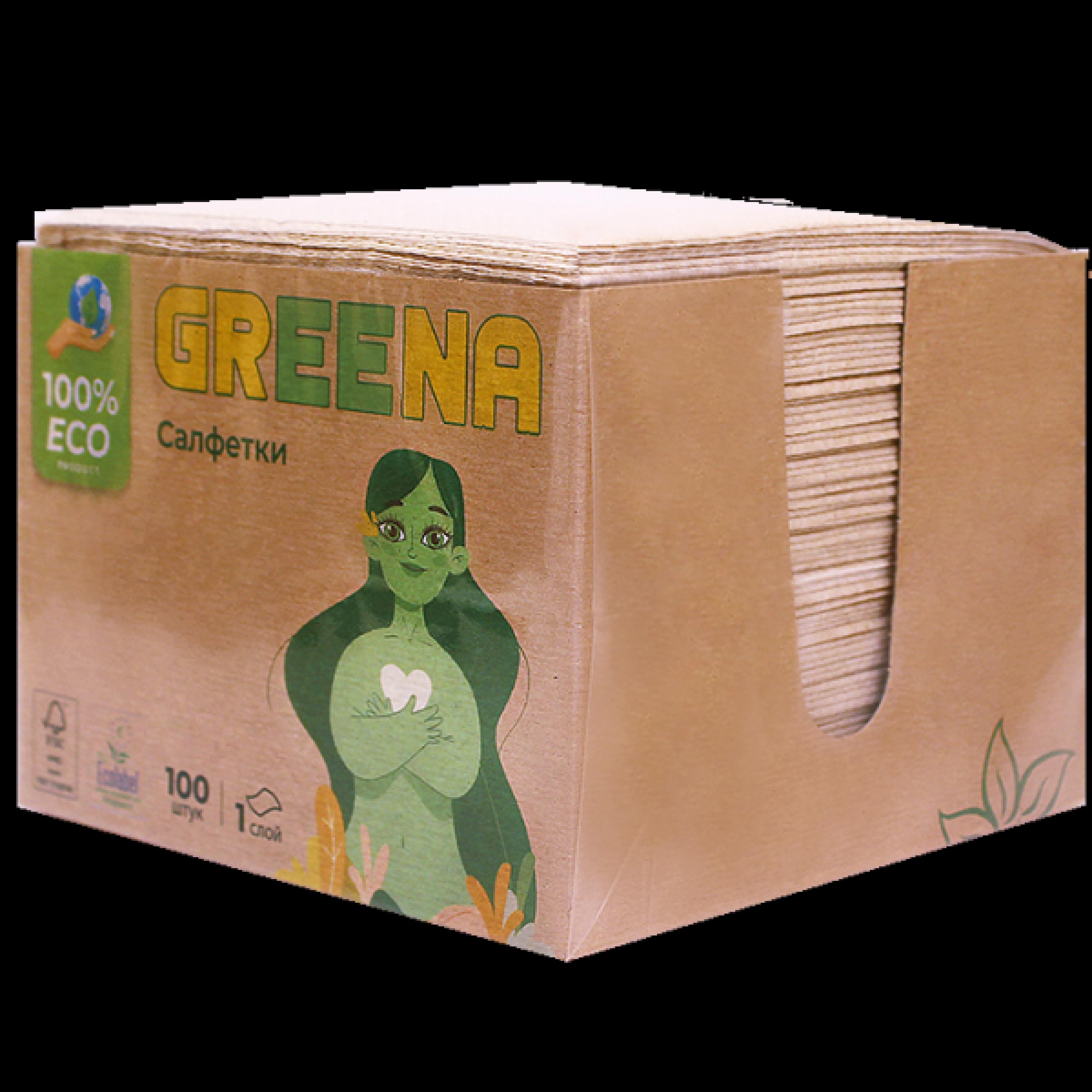 Салфетки бумажные Greena в коробке 1-слойные, 100 листов