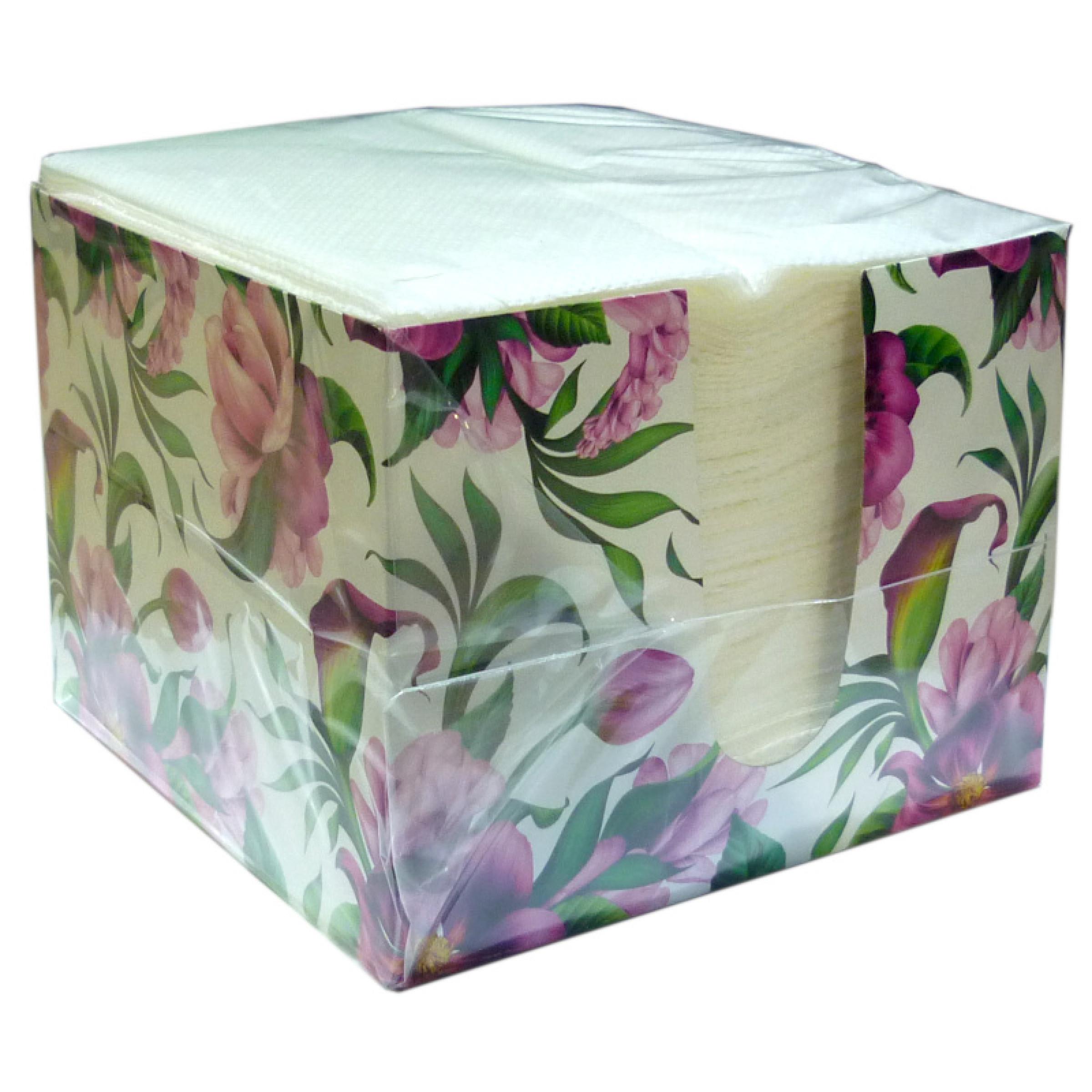 """Салфетки бумажные Лилия в коробочке """"Жардин"""" 1-слойные, 100 листов"""