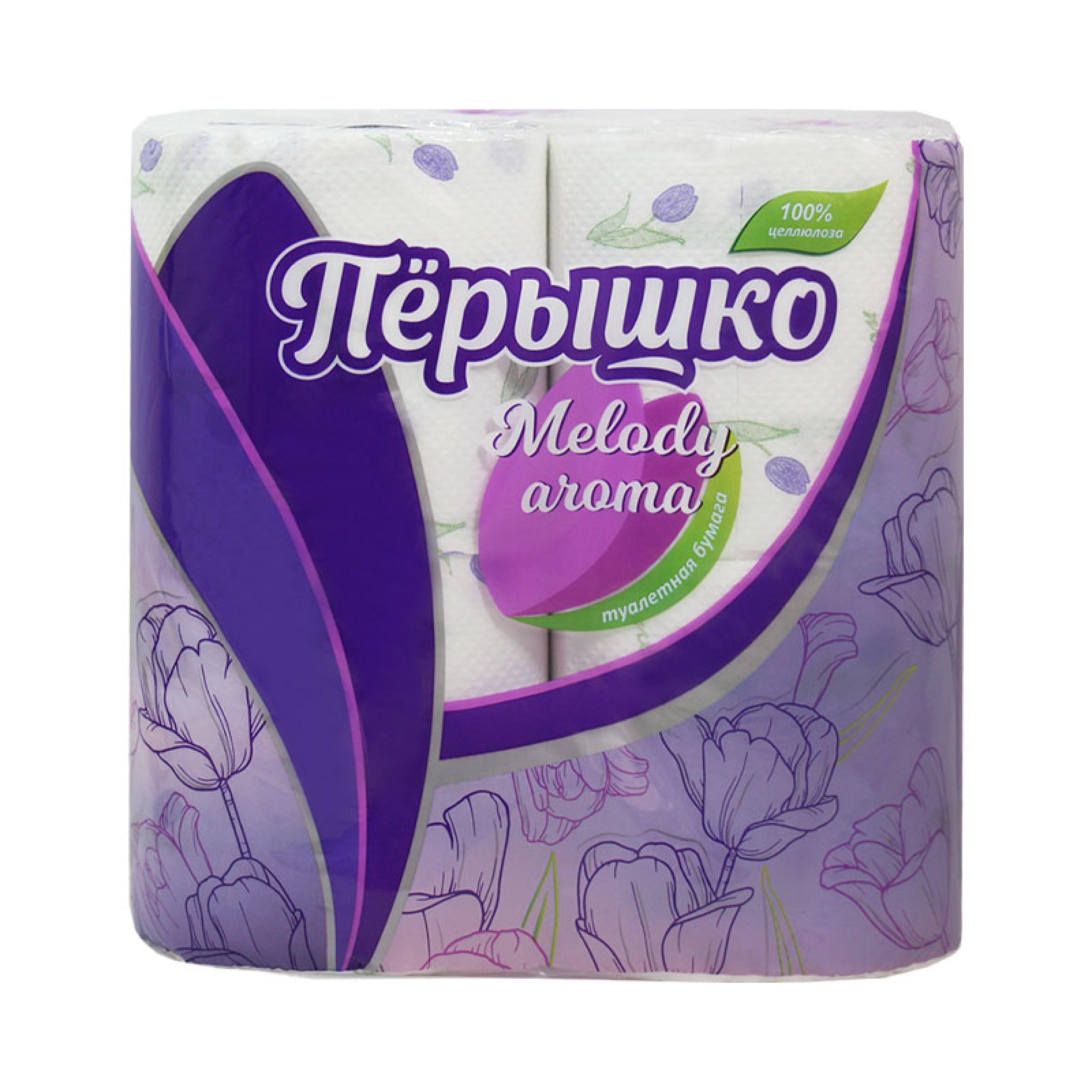 Туалетная бумага Перышко Melody белый цвет, 3-слойная, 4 рулона