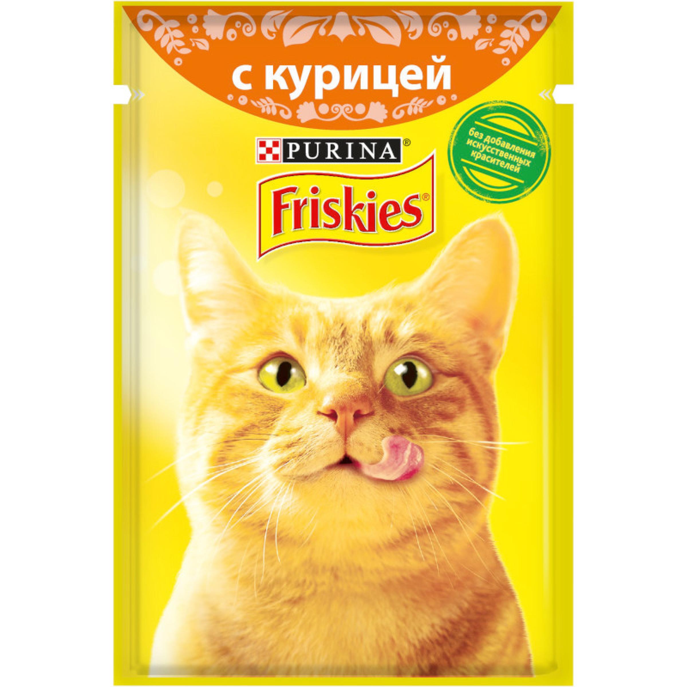 Корм Friskies для взрослых кошек, с курицей в подливе, 85 г