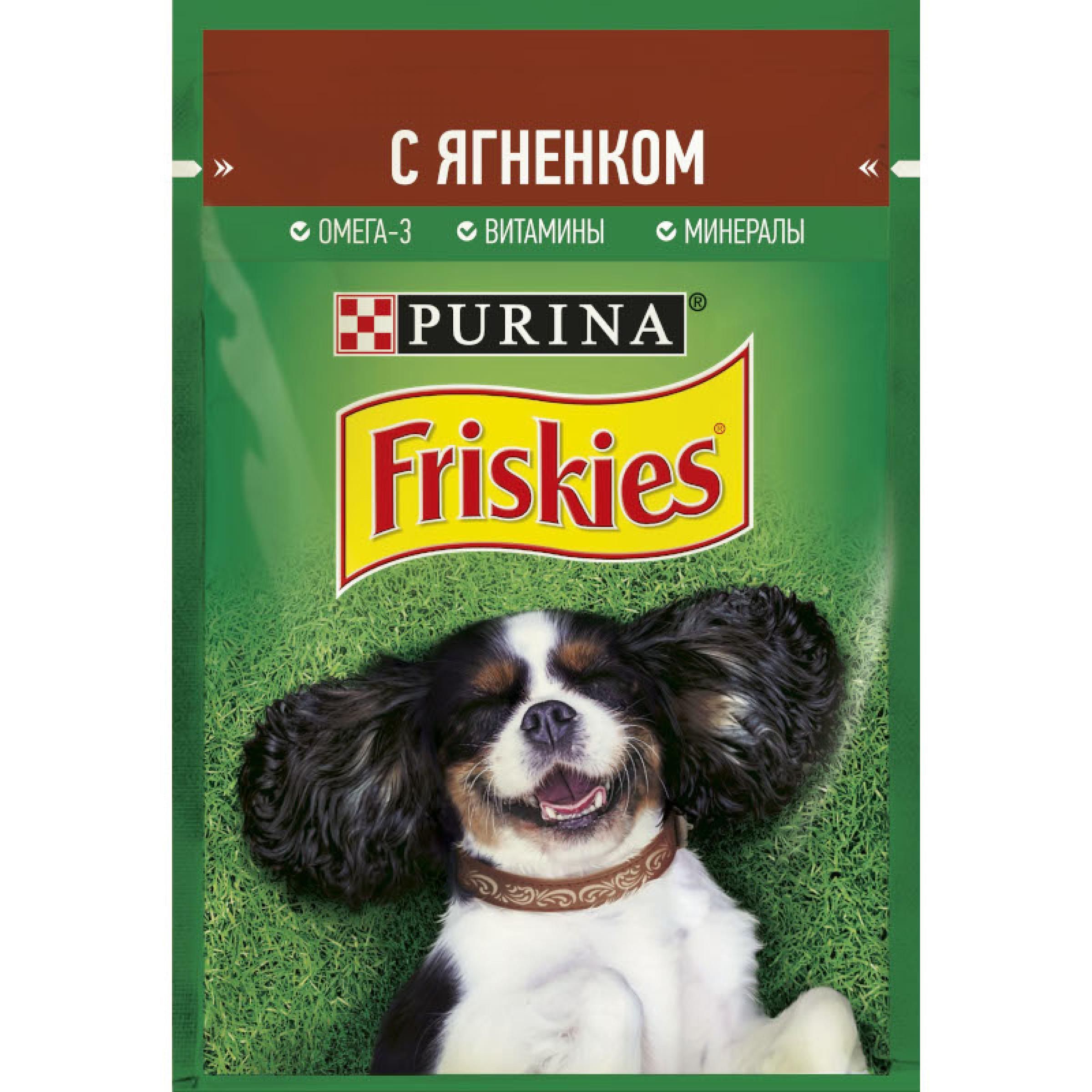 Friskies® для взрослых собак кусочки с ягненком в подливе, 85 г