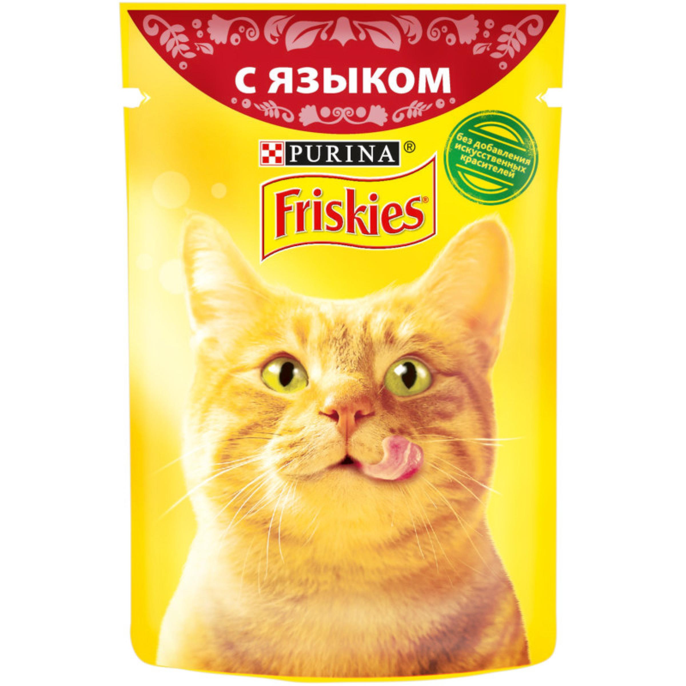 Влажный корм FRISKIES для взрослых кошек, с языком в подливе, 85 г
