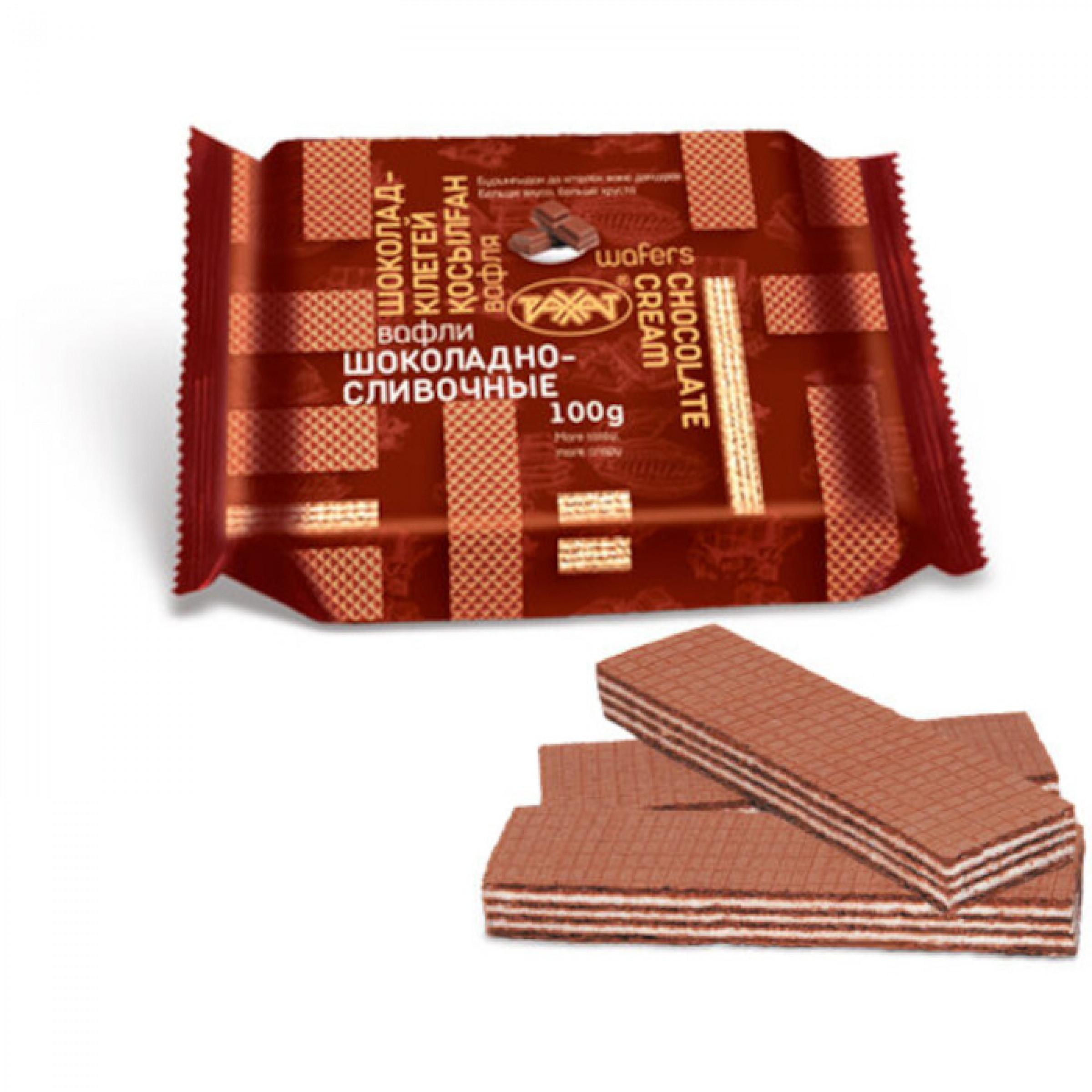 Вафли шоколадно-сливочные Рахат, 100 г