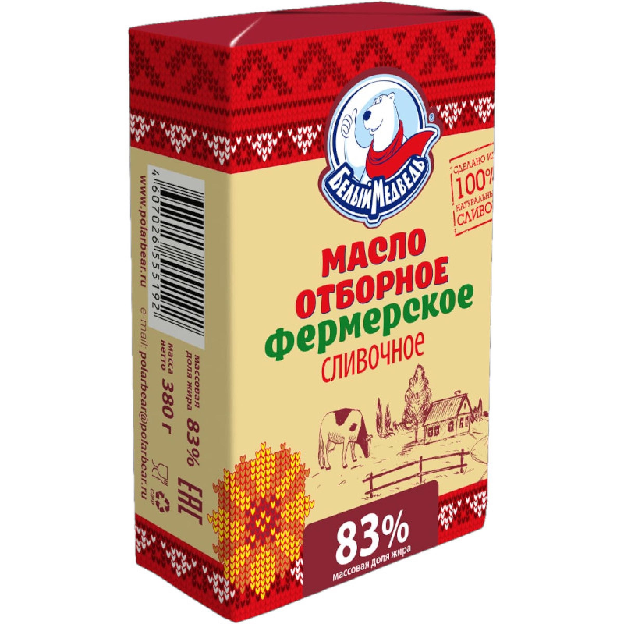 """Масло """"Отборное фермерское"""" 83% Белый Медведь, 380 г"""