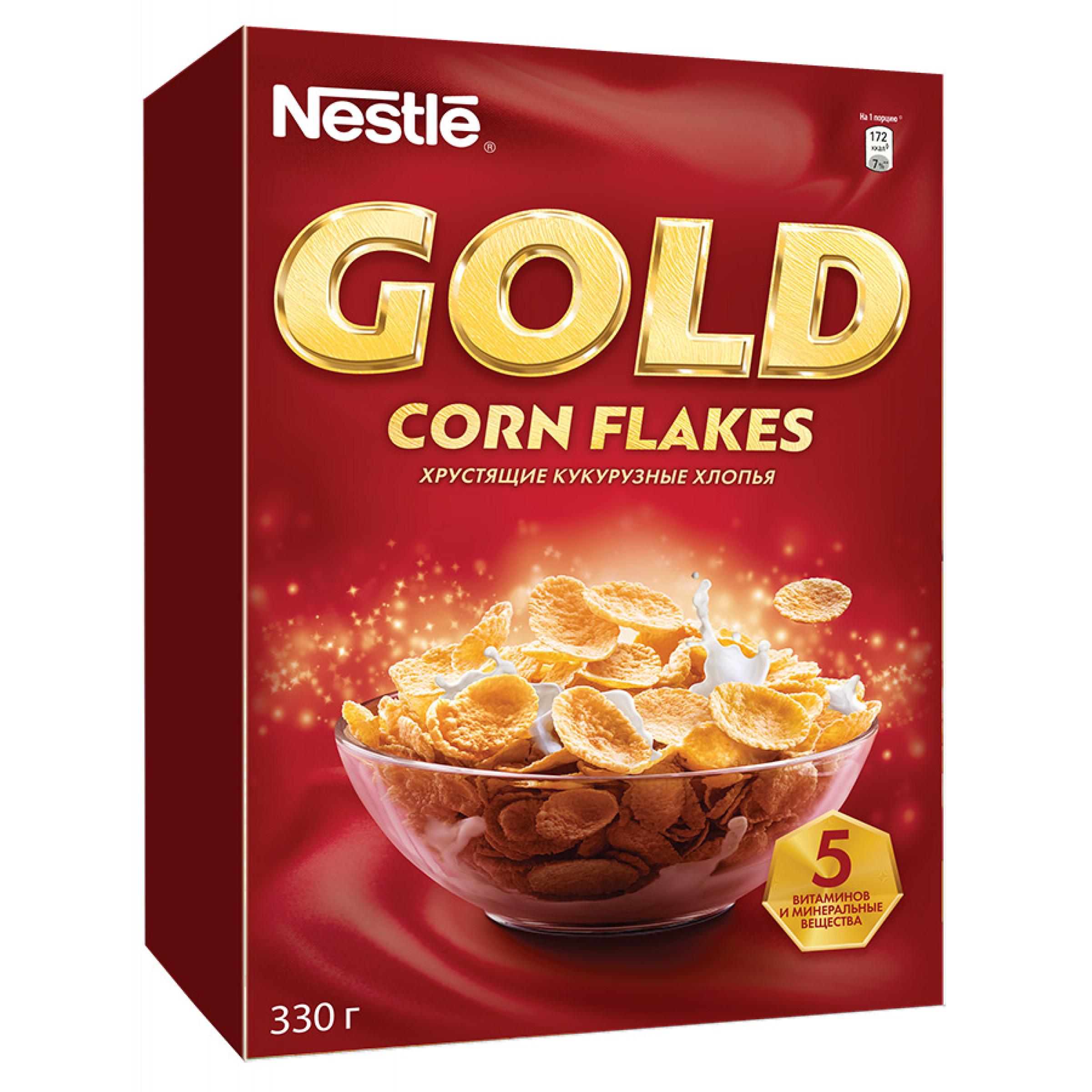 """Готовый завтрак хрустящие кукурузные хлопья Gold Corn Flakes """"Nestle"""", 330гр"""