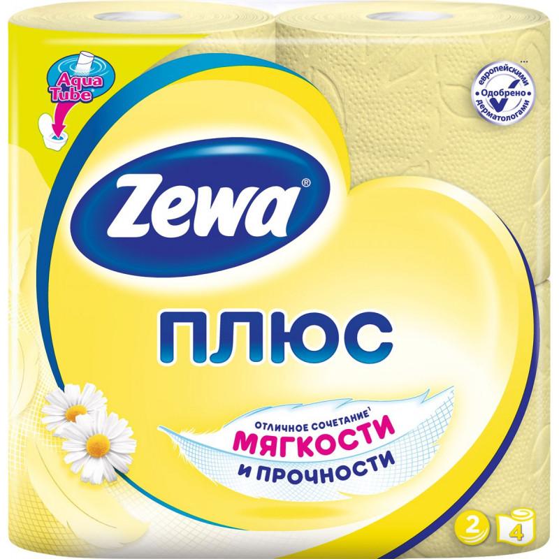 Туалетная бумага ZEWA ПЛЮС с ароматом ромашки двухслойная желтая, в упаковке 4 рулона