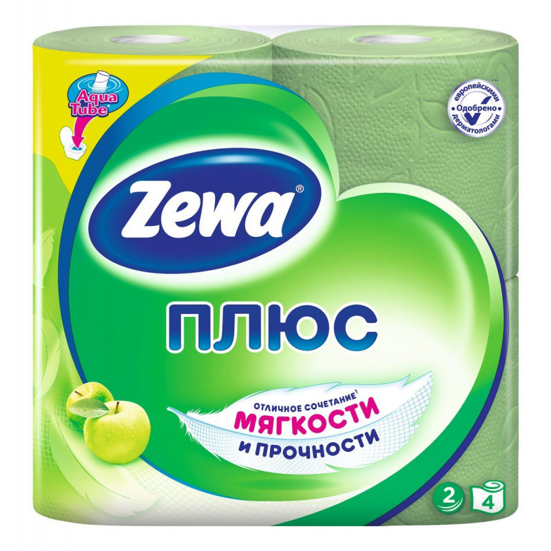 Туалетная бумага ZEWA ПЛЮС с ароматом яблока двухслойная зеленая, в упаковке 4 рулона
