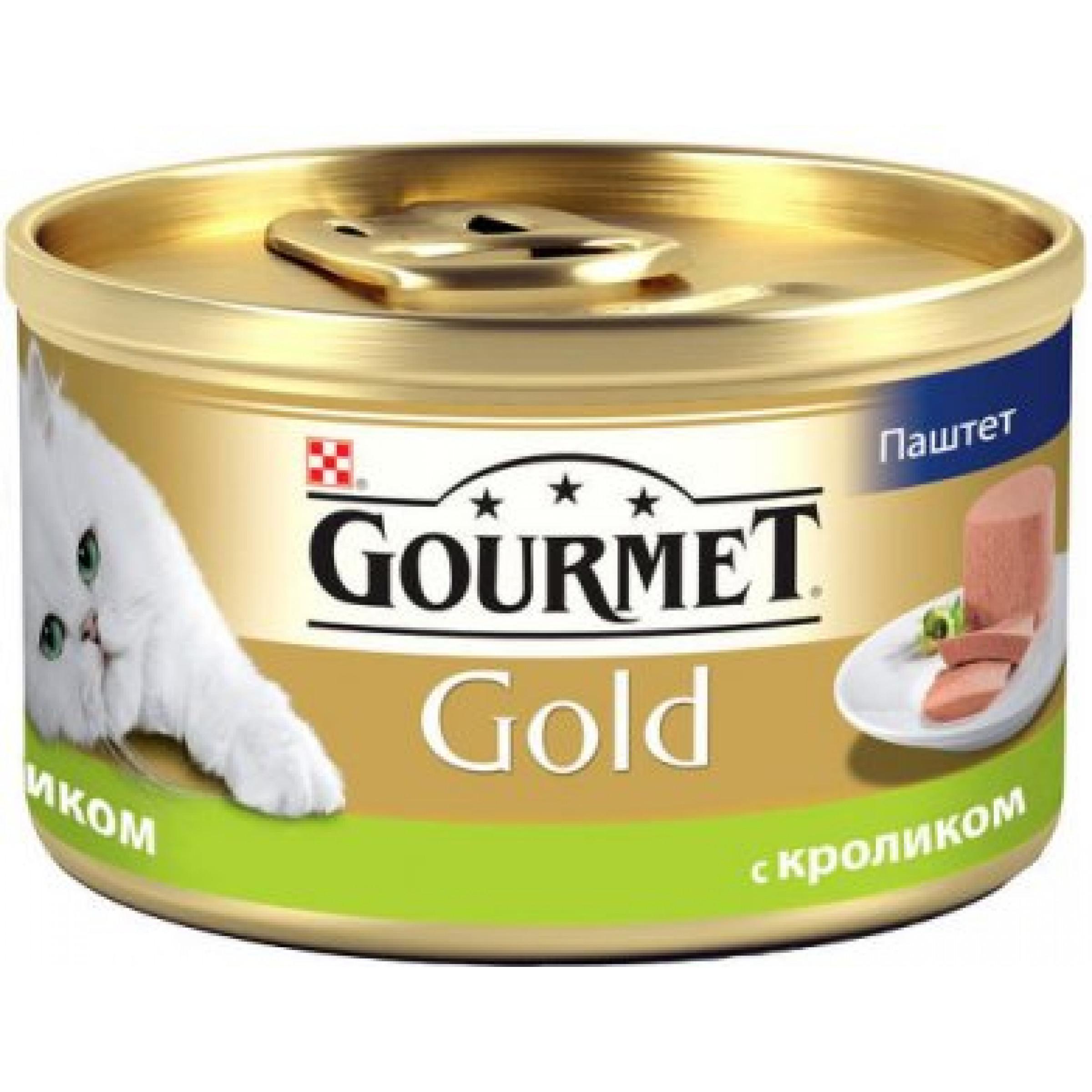 Влажный корм для кошек GOURMET Gold паштет кролик, 85 гр