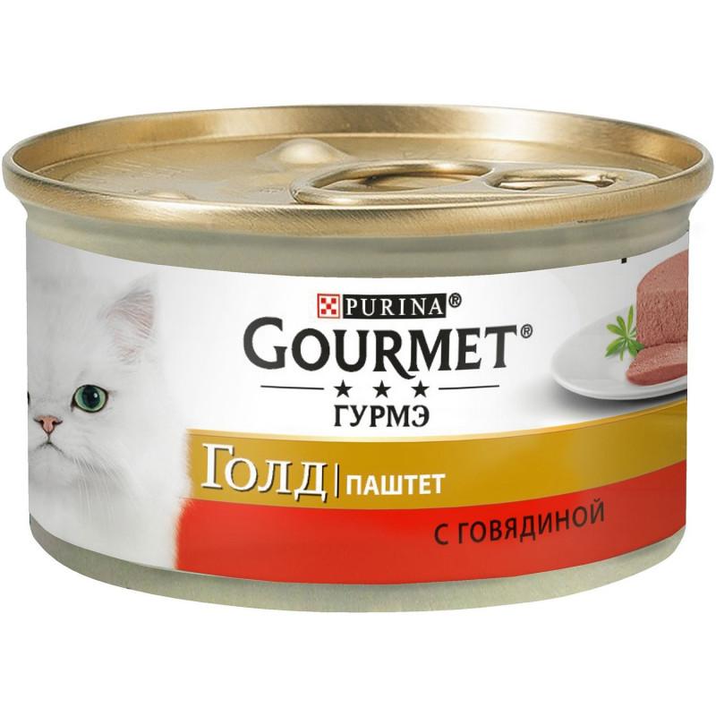 Влажный корм GOURMET GOLD Паштет для кошек Говядина, 85 гр